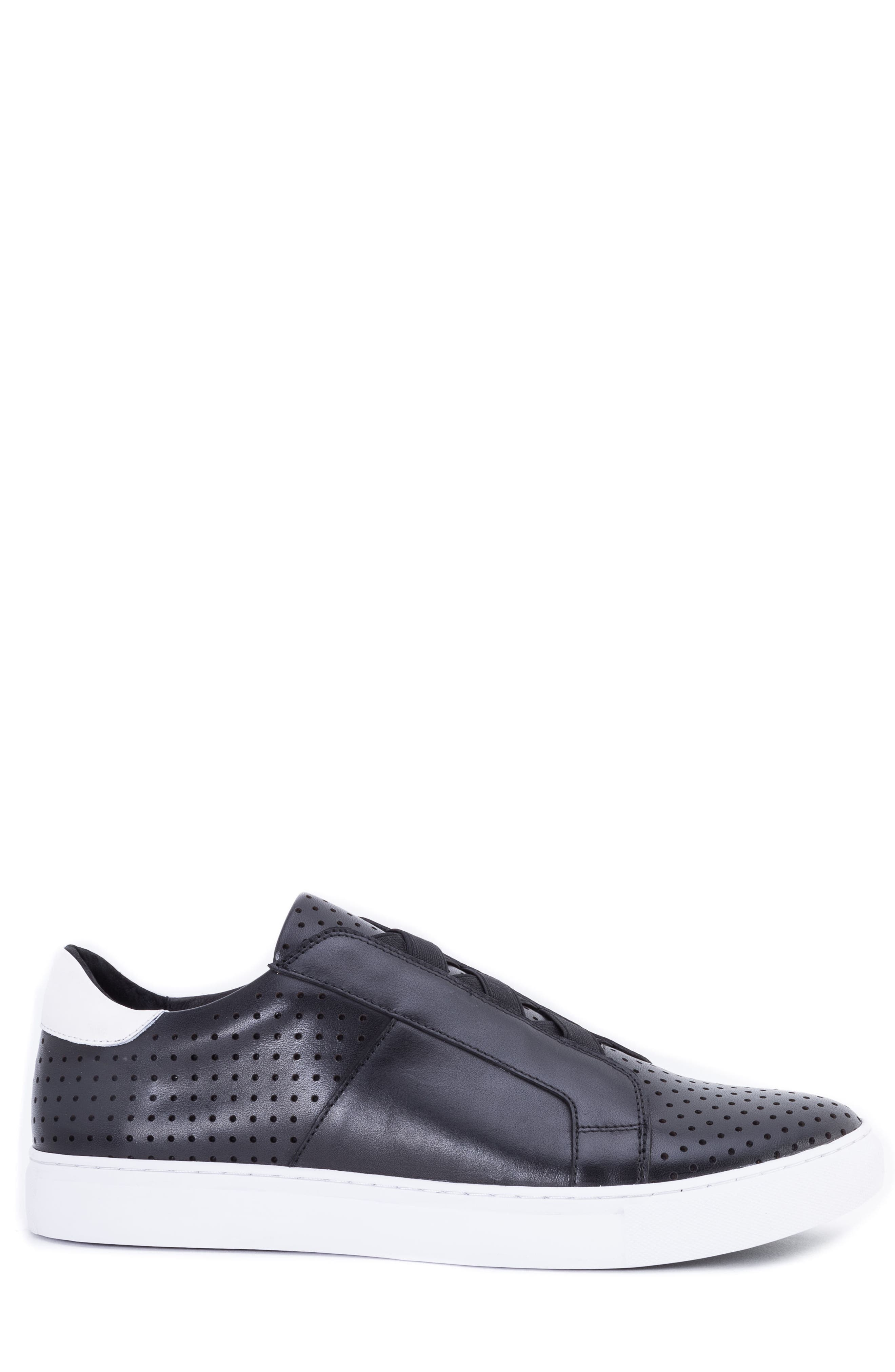 Rowley Perforated Laceless Sneaker,                             Alternate thumbnail 3, color,                             BLACK LEATHER