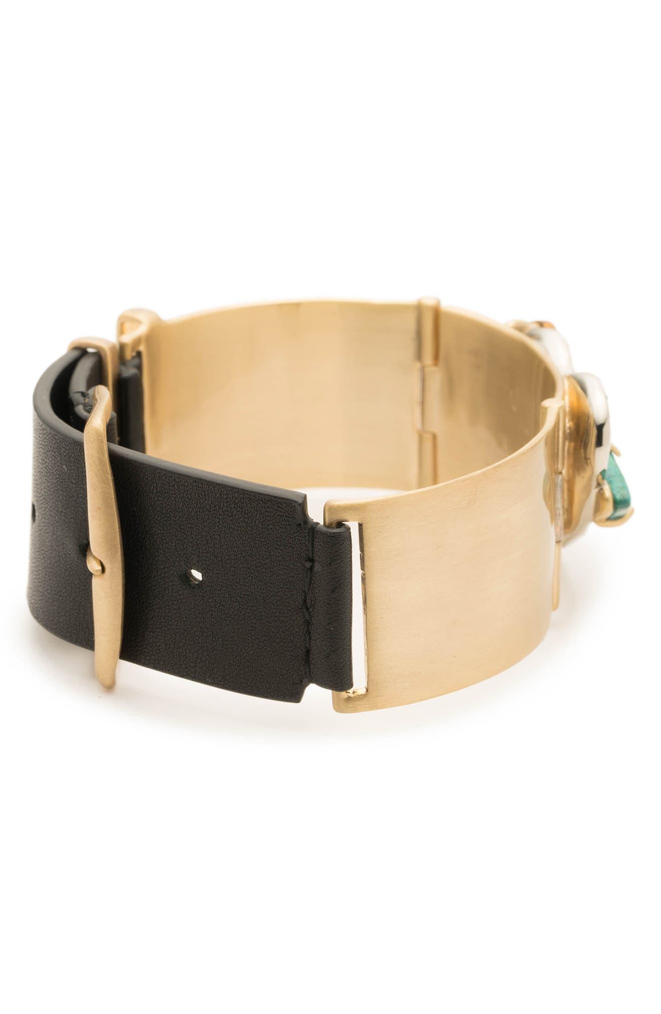 Crystal Encrusted Leather Strap Bracelet,                             Alternate thumbnail 4, color,                             GOLD/ SILVER