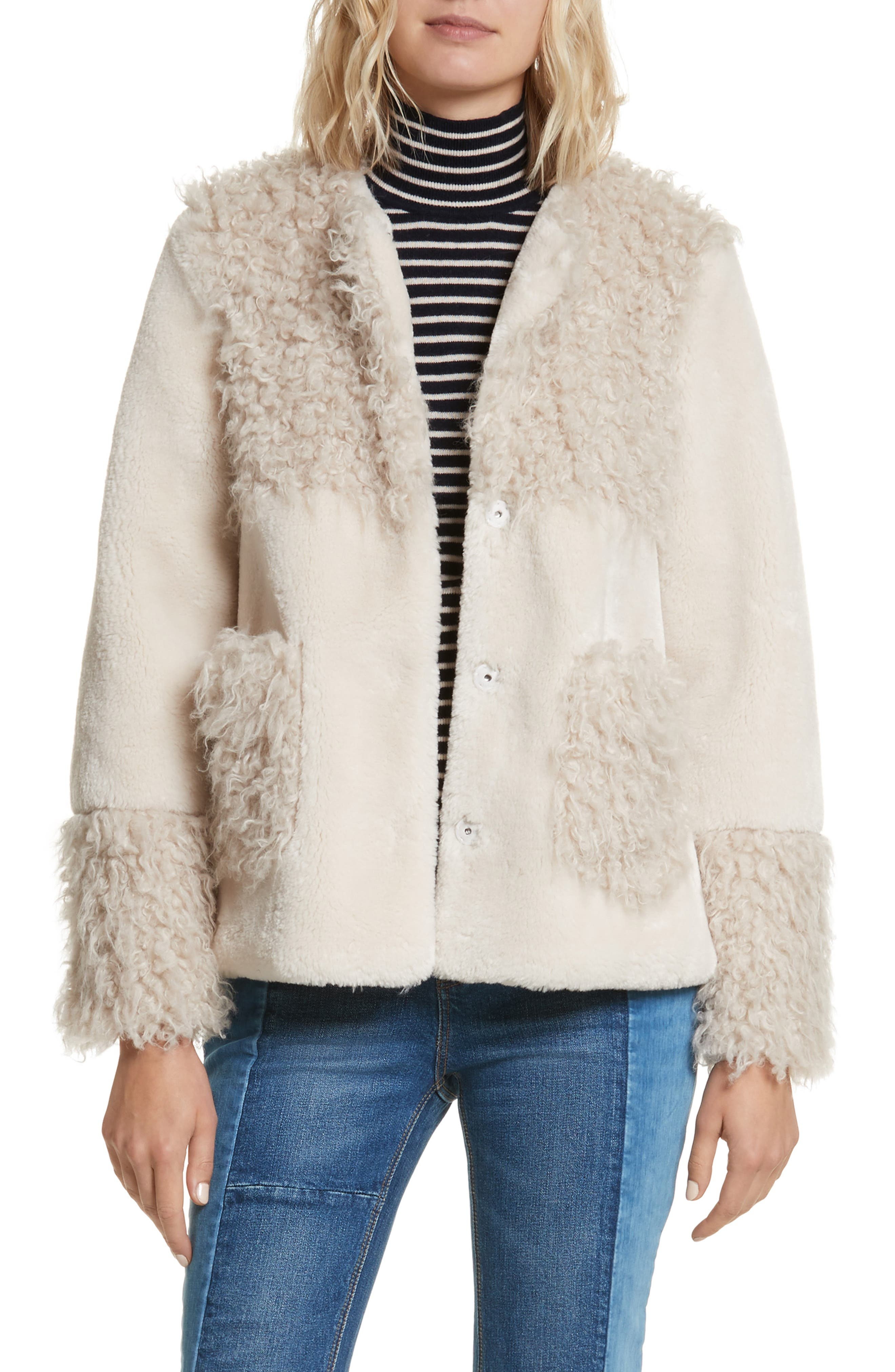 Mixed Faux Fur Coat,                             Main thumbnail 1, color,                             905