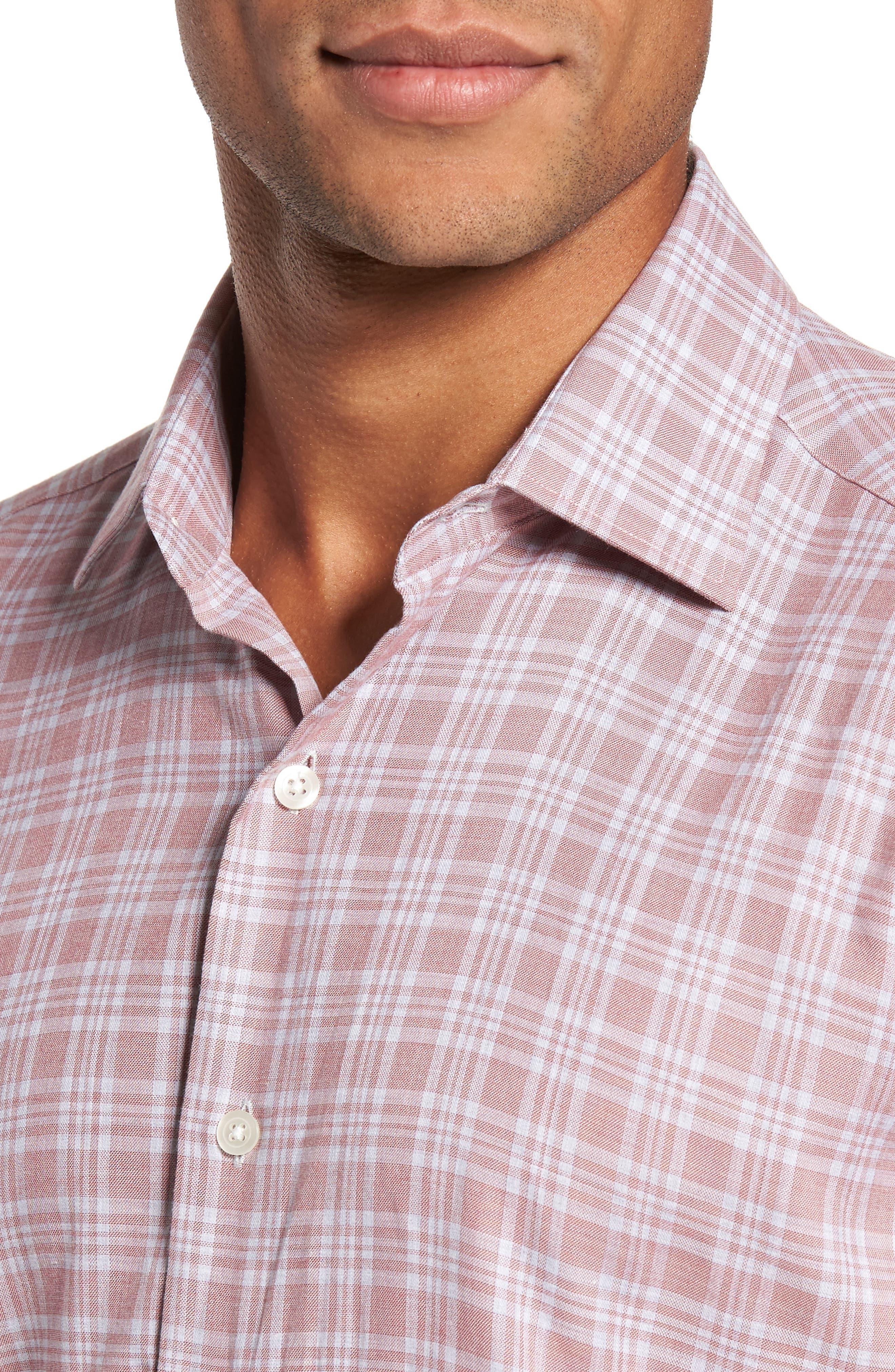 Slim Fit Plaid Sport Shirt,                             Alternate thumbnail 4, color,                             650