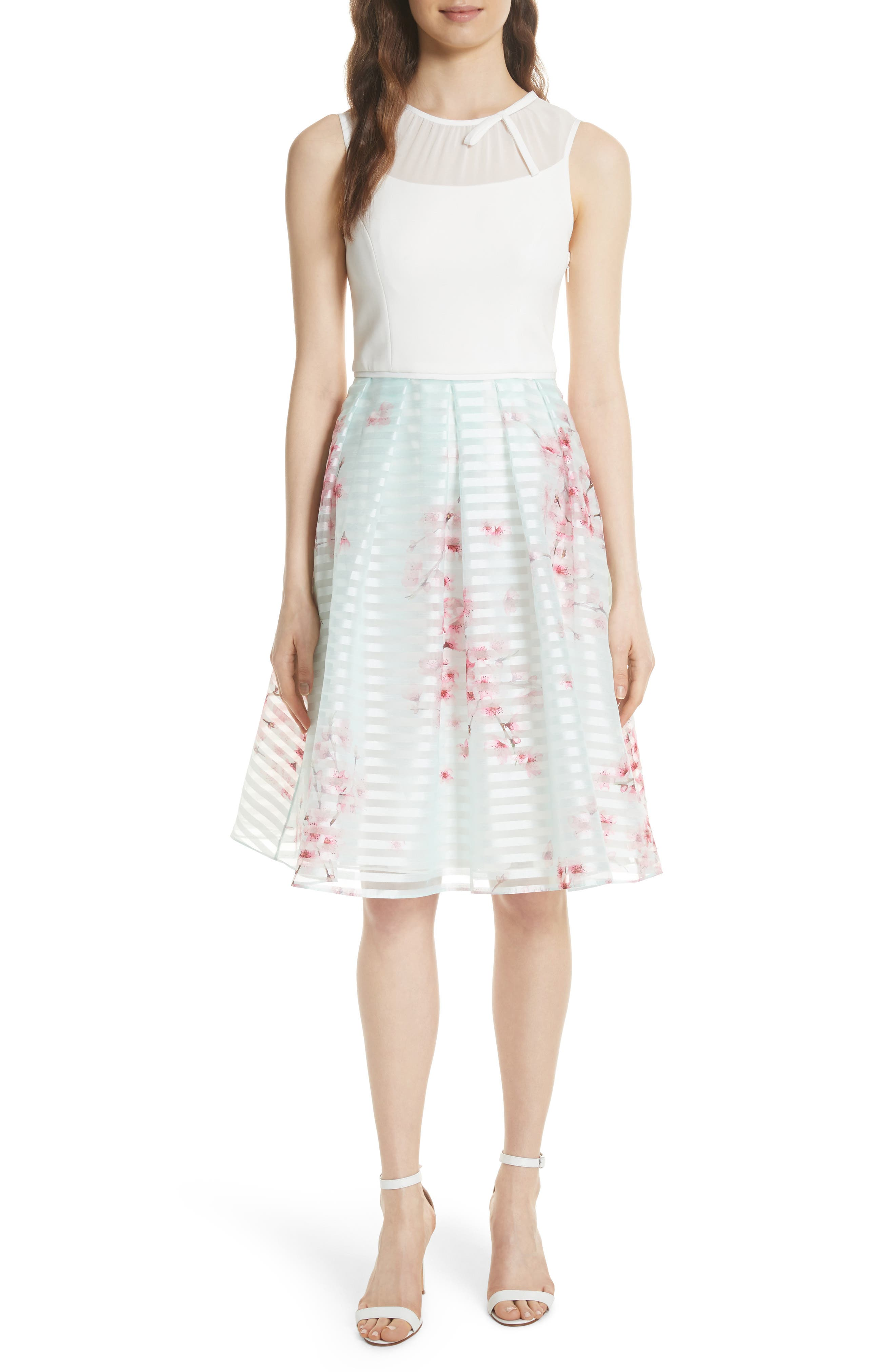 Soft Blossom Fit & Flare Dress,                             Main thumbnail 1, color,                             253