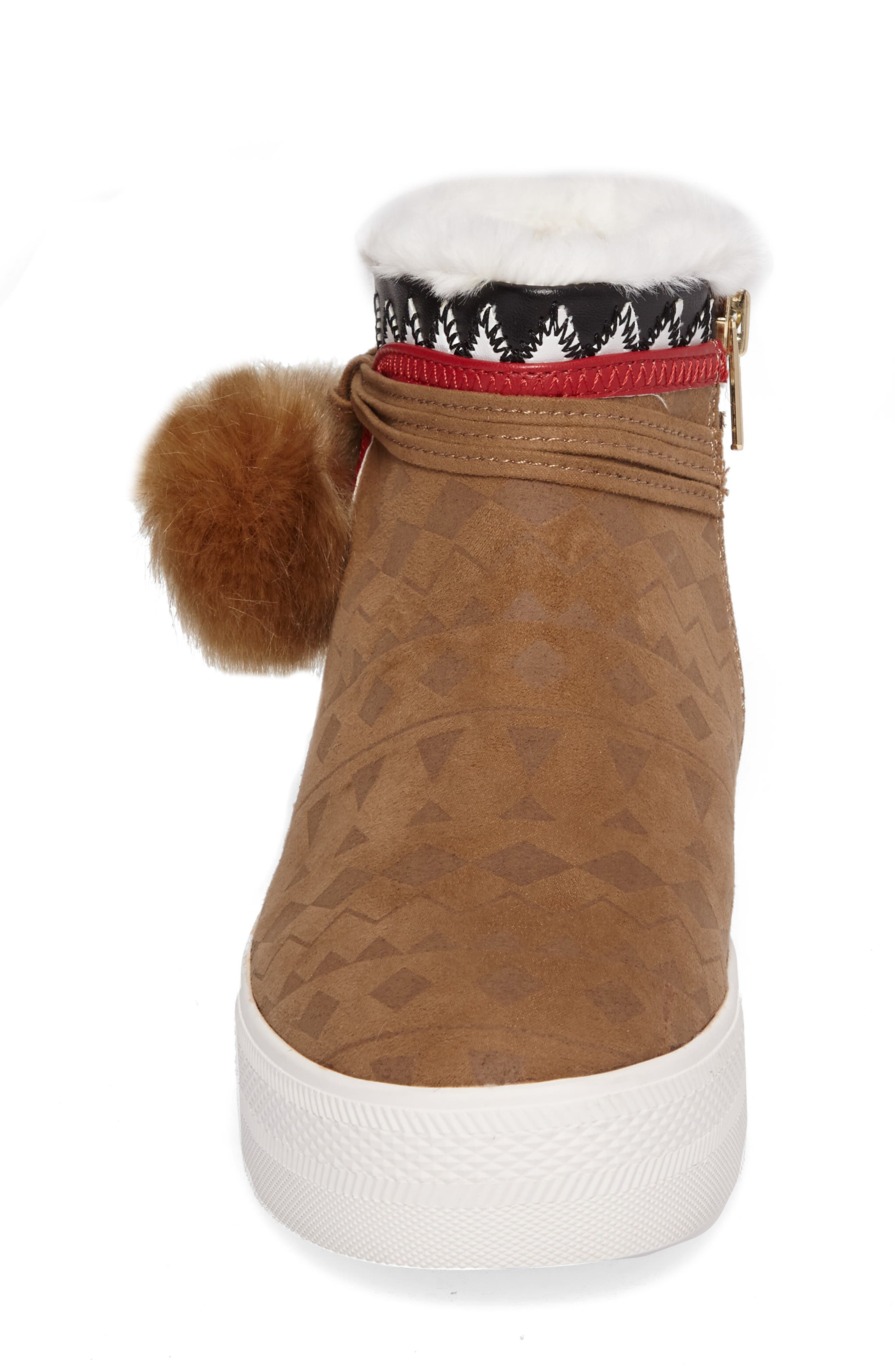 Lynn Faux Fur Pom Sneaker Boot,                             Alternate thumbnail 4, color,                             200