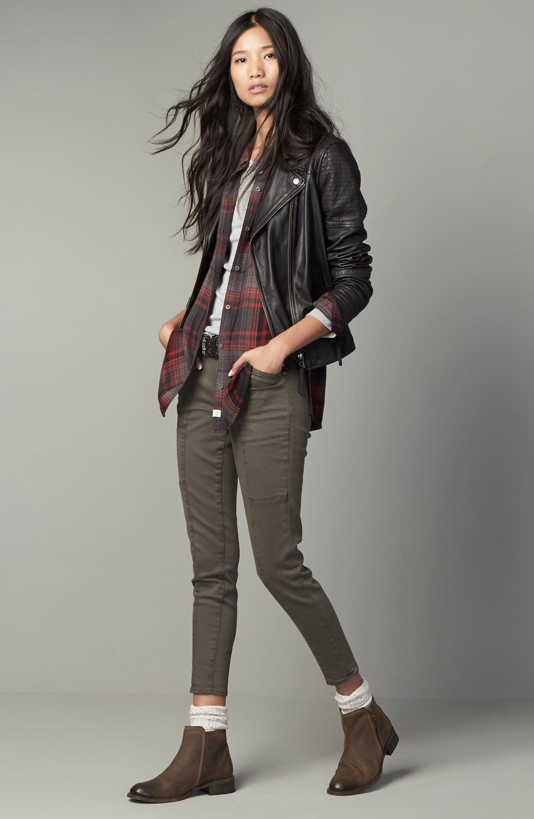 Quilted Leather Moto Jacket,                             Alternate thumbnail 12, color,                             001