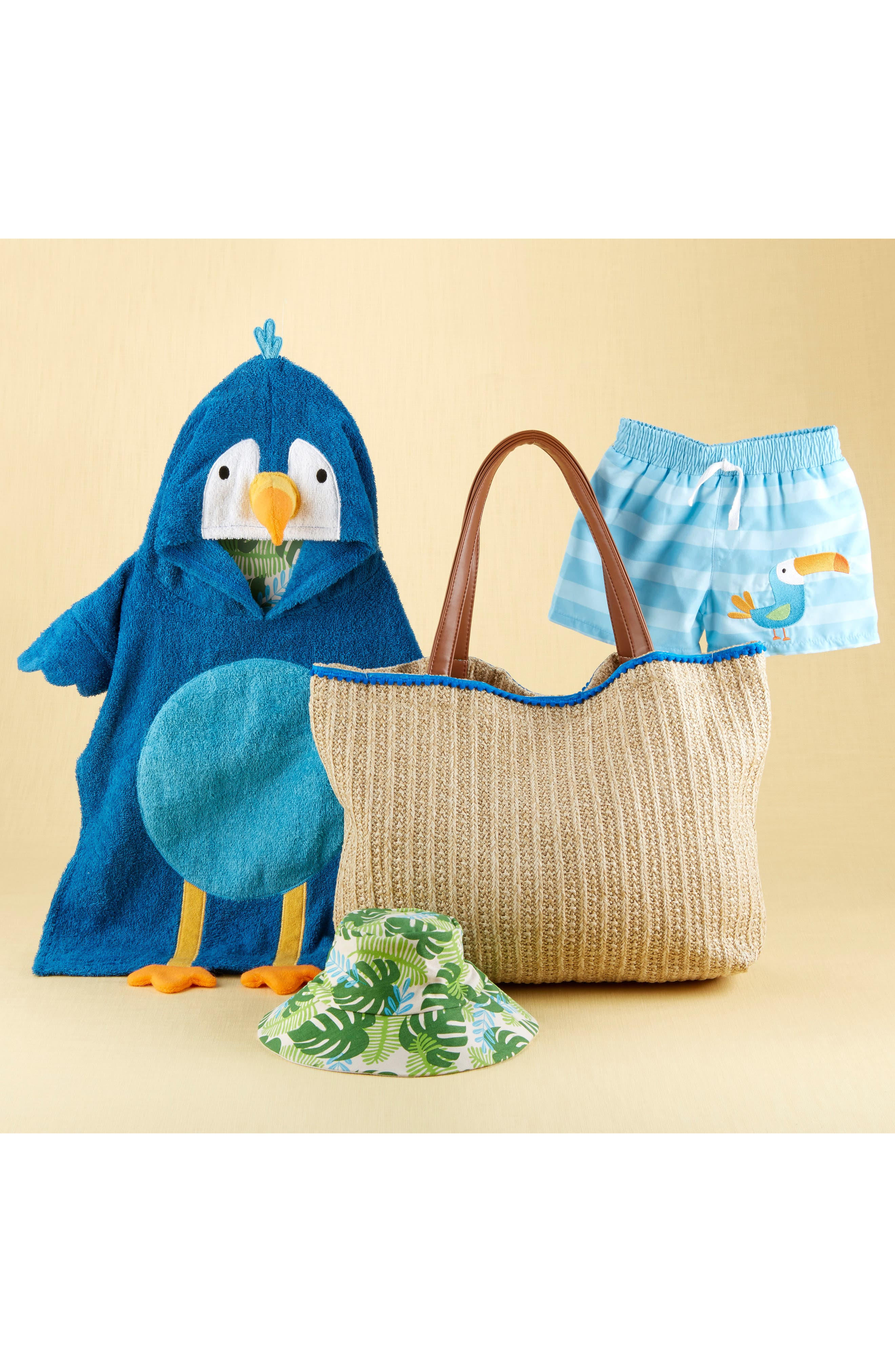 Tropical Hooded Towel, Swimsuit, Sun Hat & Tote Set,                             Alternate thumbnail 4, color,                             BLUE/ GREY/ WHITE/ BROWN
