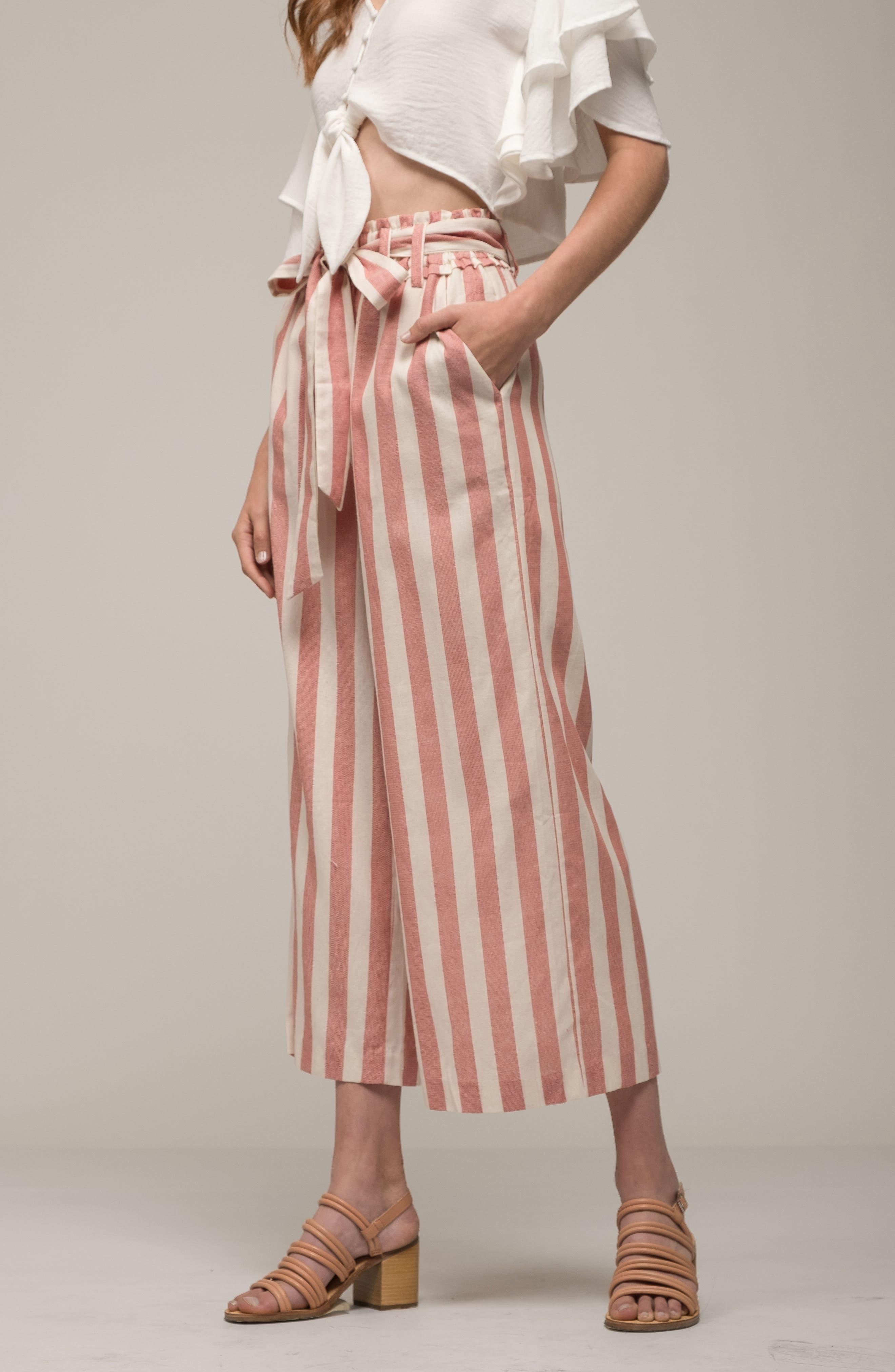Stripe Paperbag Waist Pants,                             Alternate thumbnail 8, color,                             600
