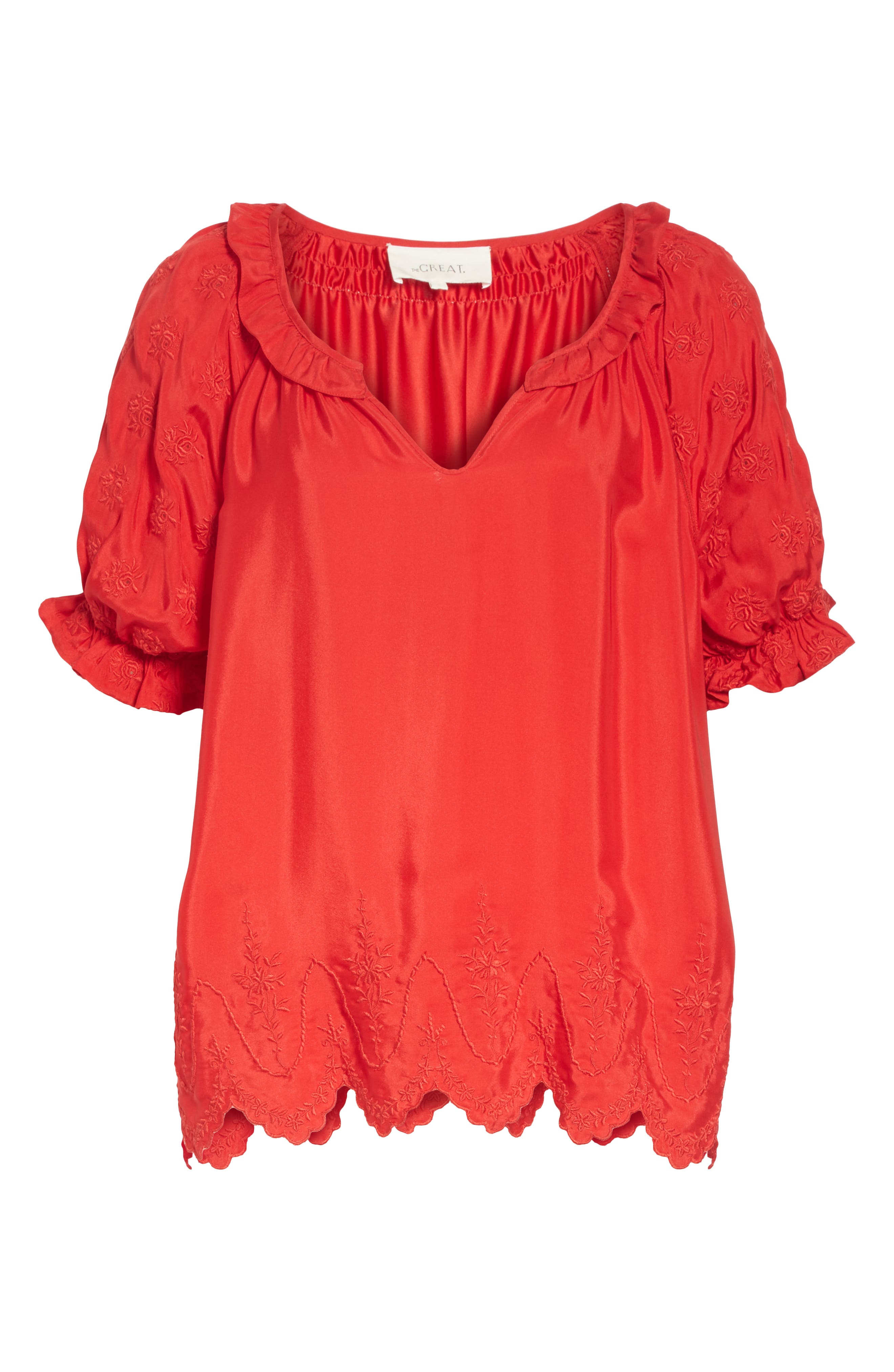 Wish Embroidered Silk Top,                             Alternate thumbnail 6, color,                             VALENTINE
