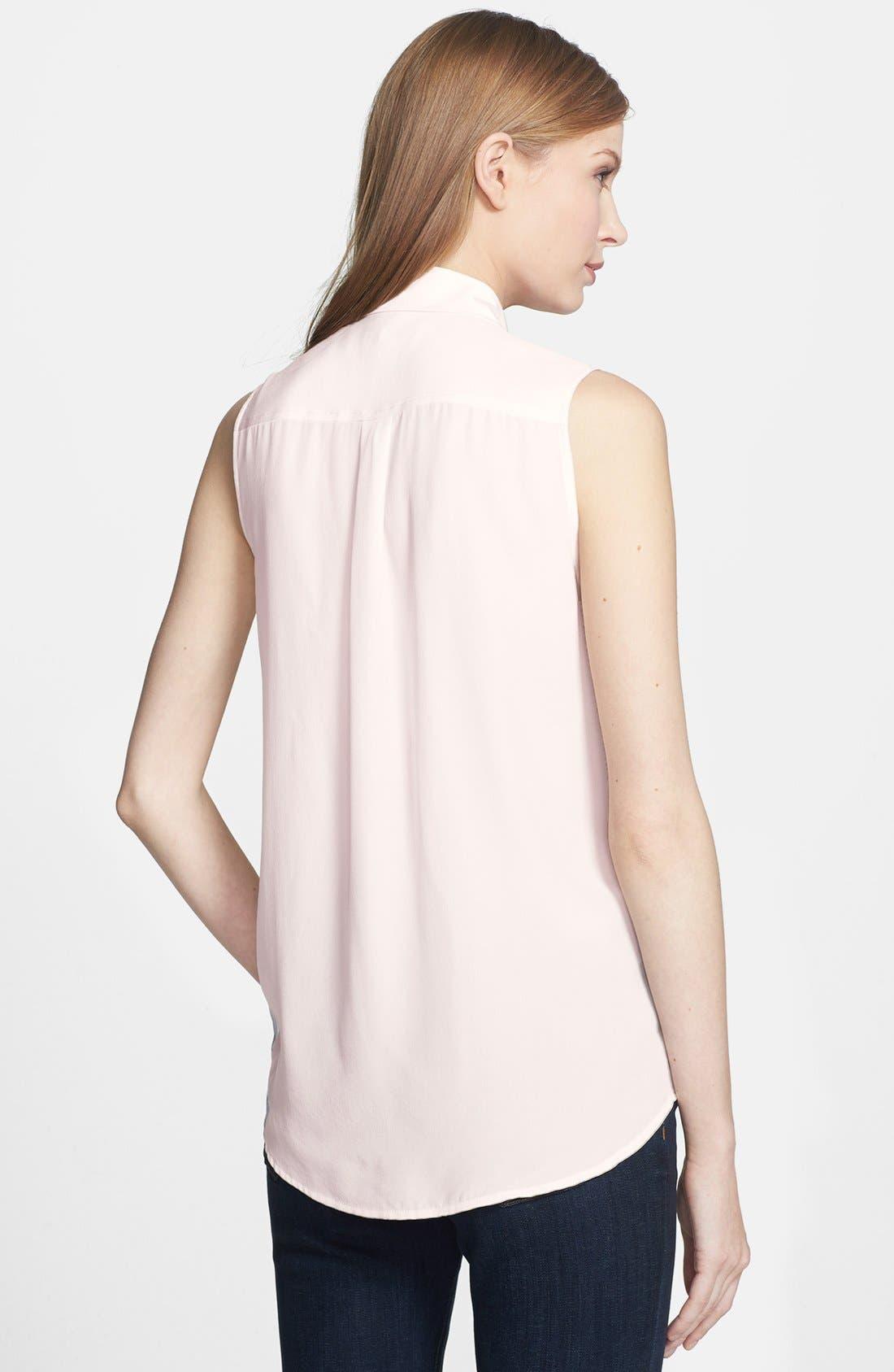 'Slim Signature' Sleeveless Silk Shirt,                             Alternate thumbnail 81, color,