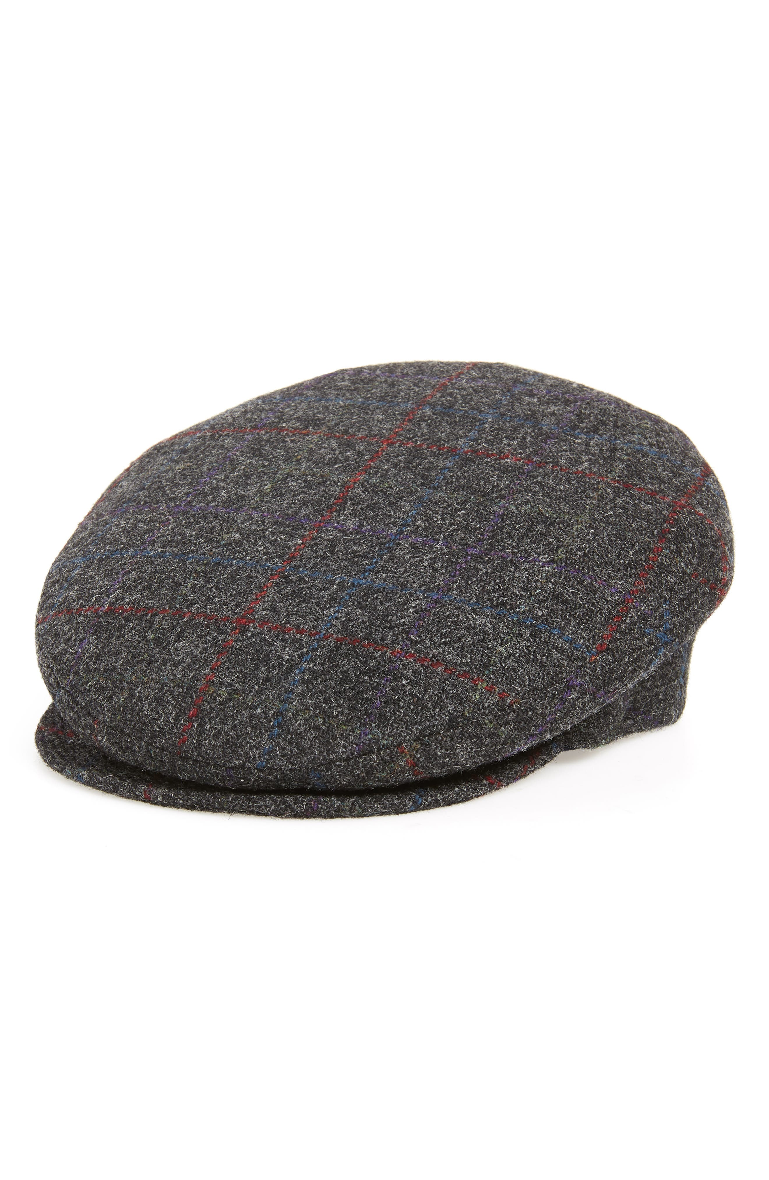 Lord Windowpane Wool Driving Cap,                             Main thumbnail 1, color,                             CHARCOAL