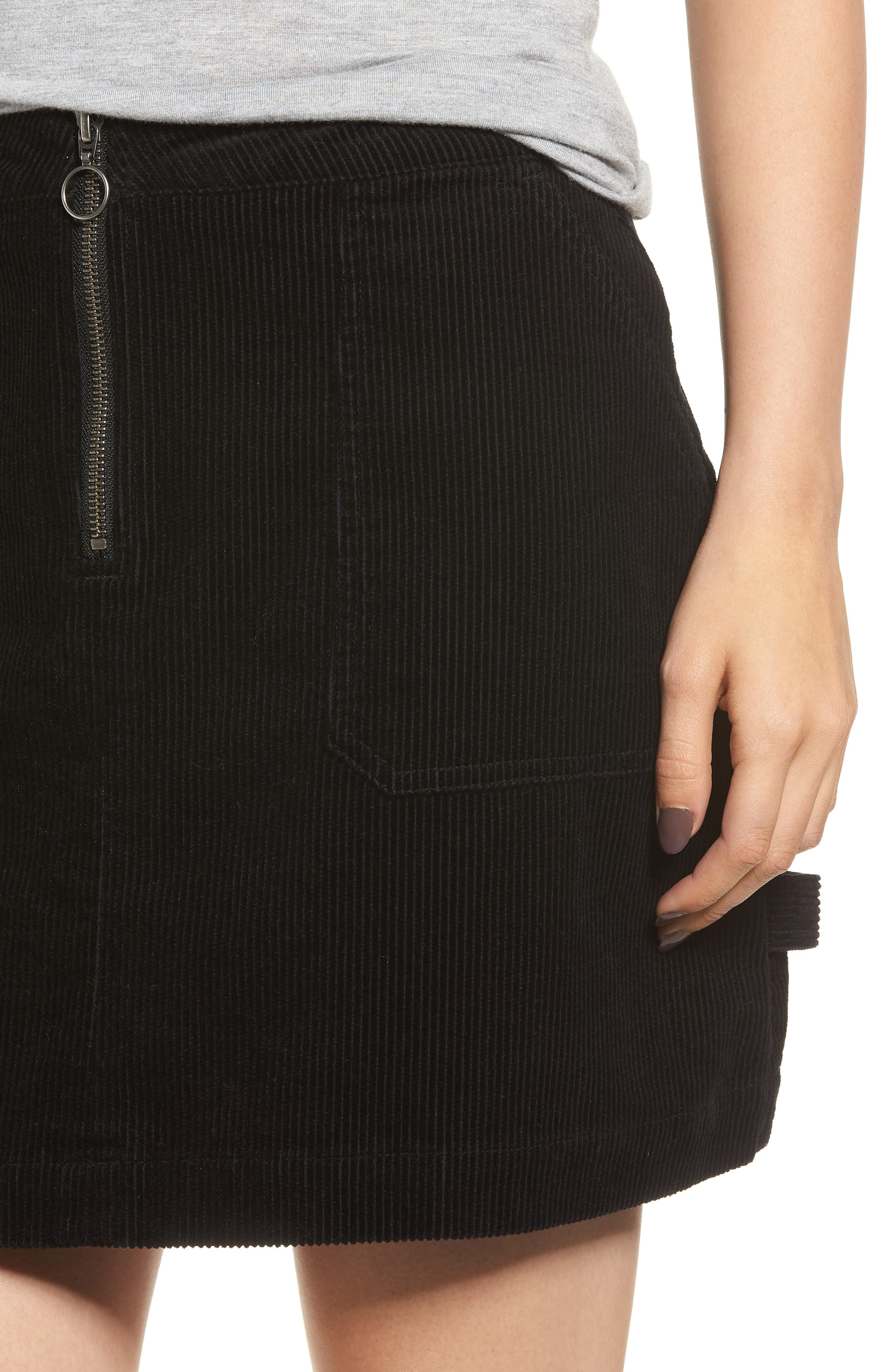 Corduroy Utility Skirt,                             Alternate thumbnail 4, color,                             BLACK