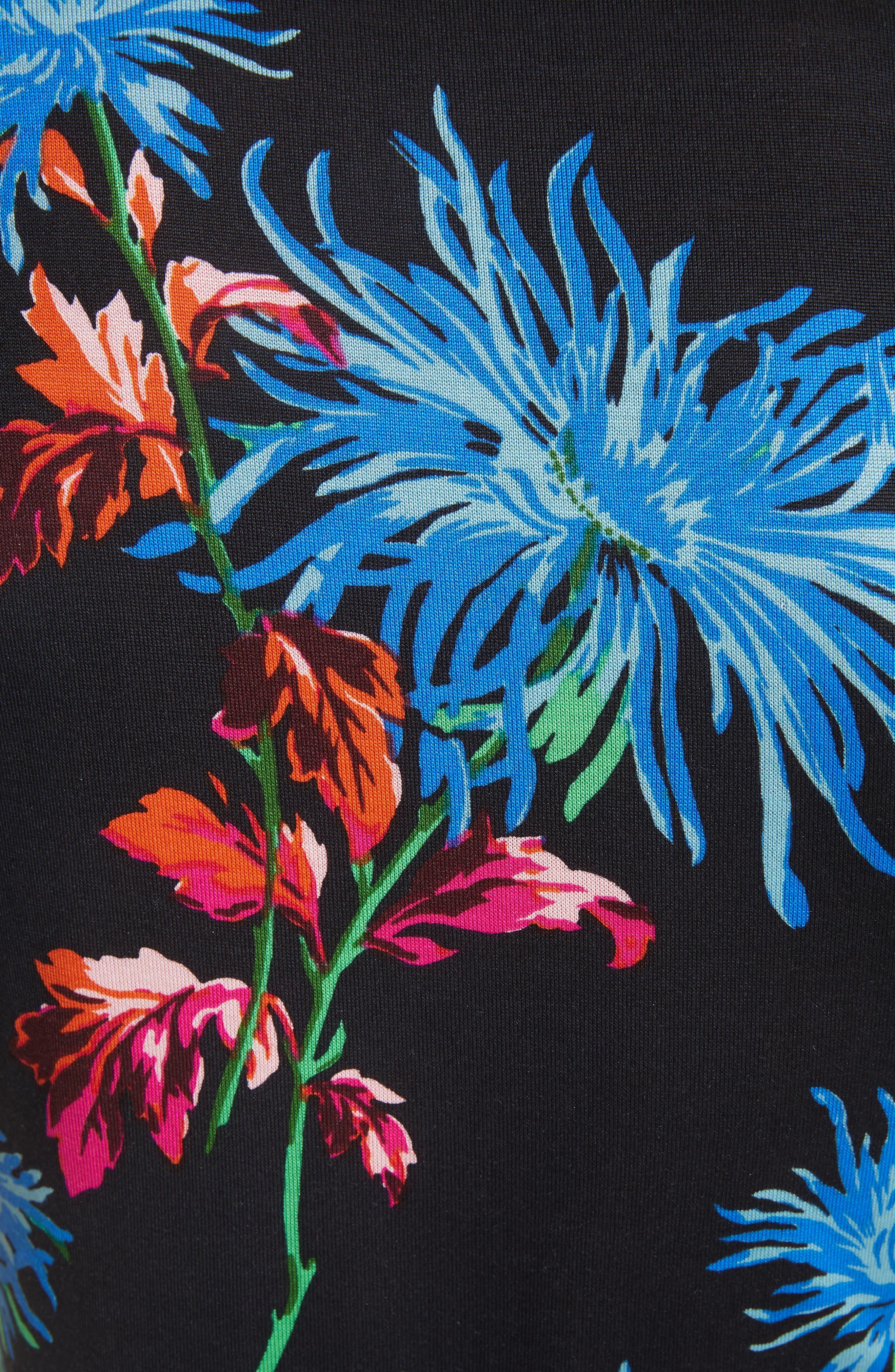 Diane von Furstenberg Flutter Sleeve Silk Wrap Dress,                             Alternate thumbnail 5, color,                             HEWES BLACK