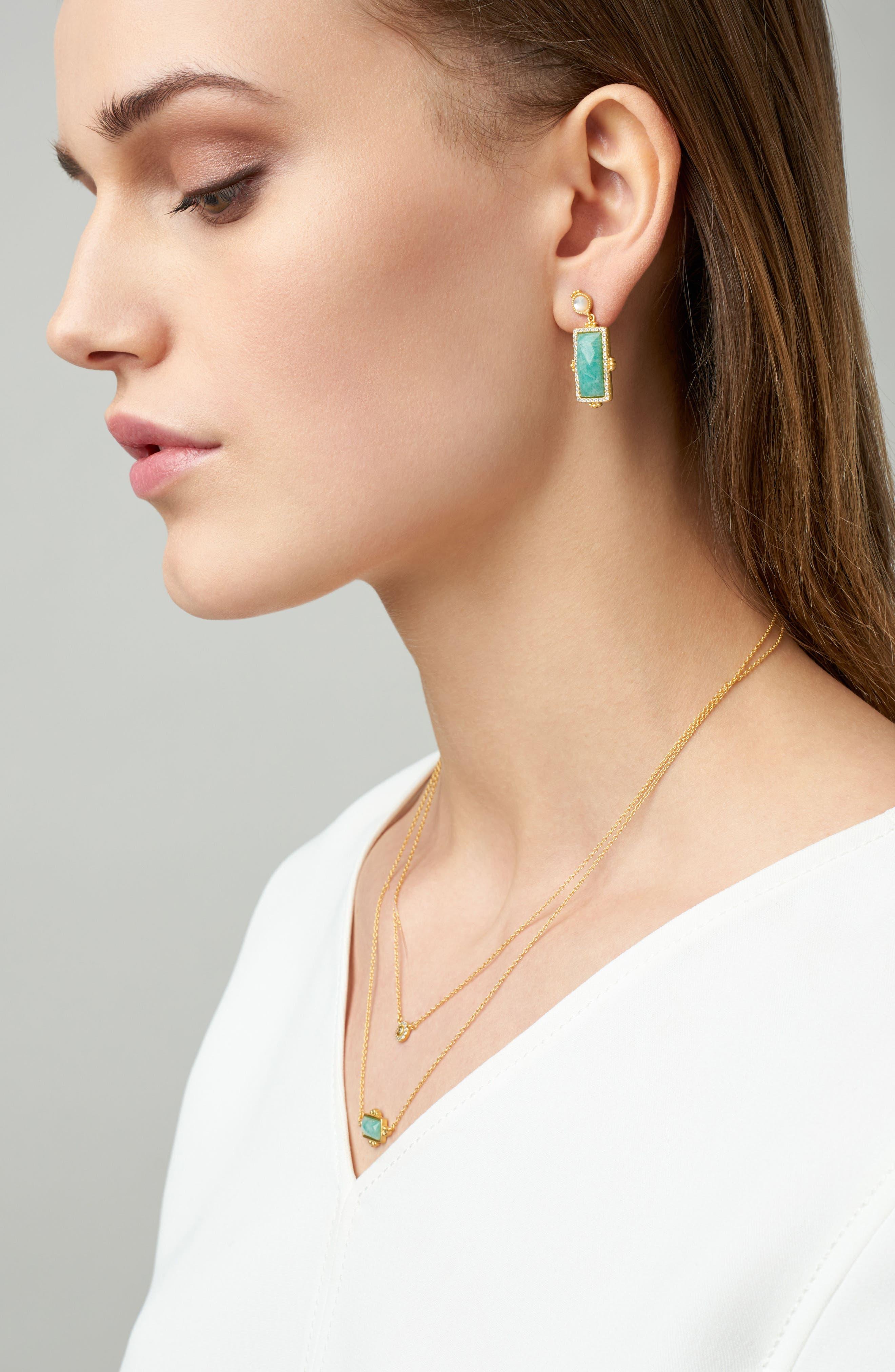 Amazonian Allure Rectangle Drop Earrings,                             Alternate thumbnail 2, color,                             710