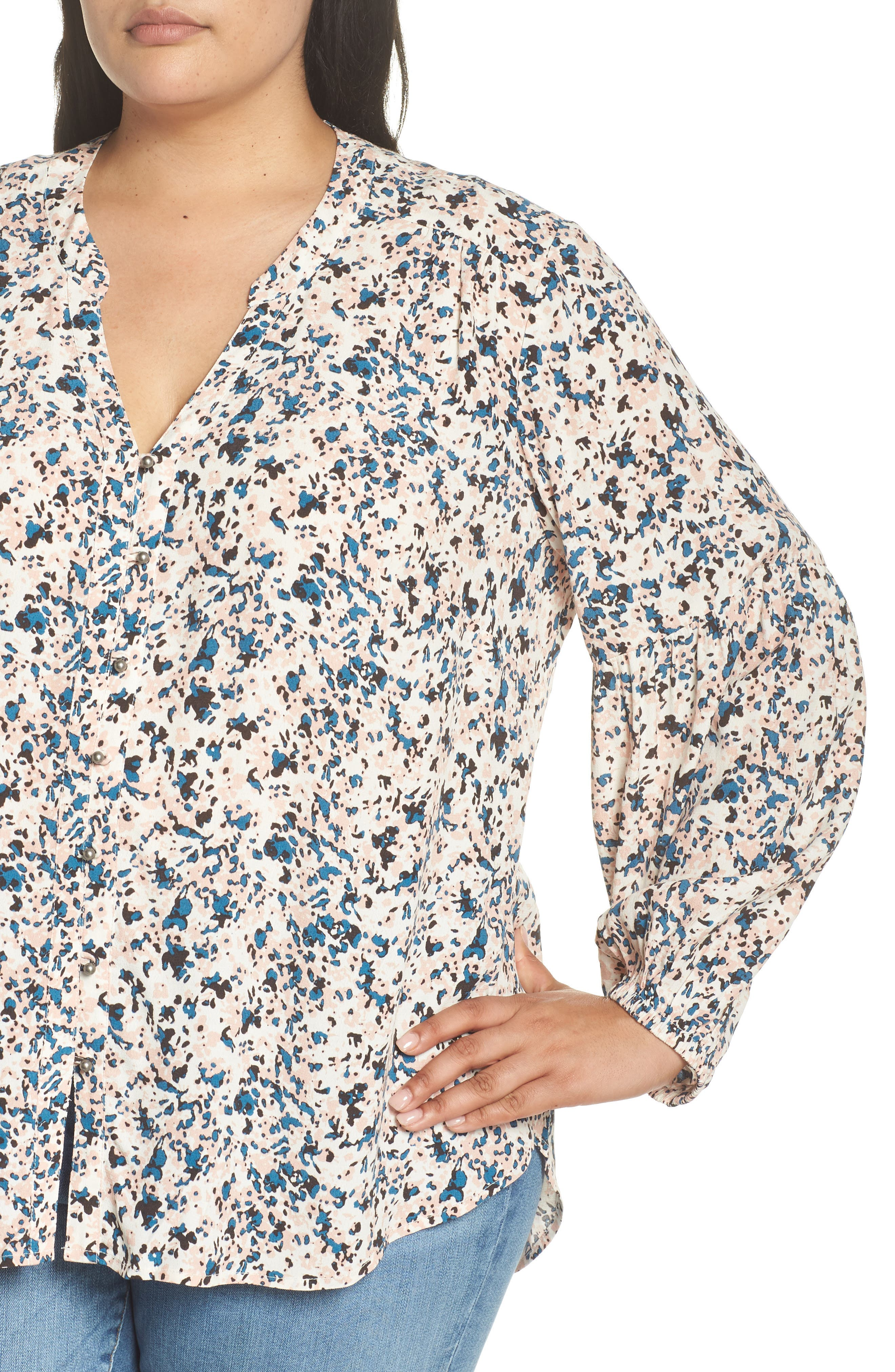 Button-Up Patterned Top,                             Alternate thumbnail 4, color,                             IVORY- PINK PIONEER FLORAL