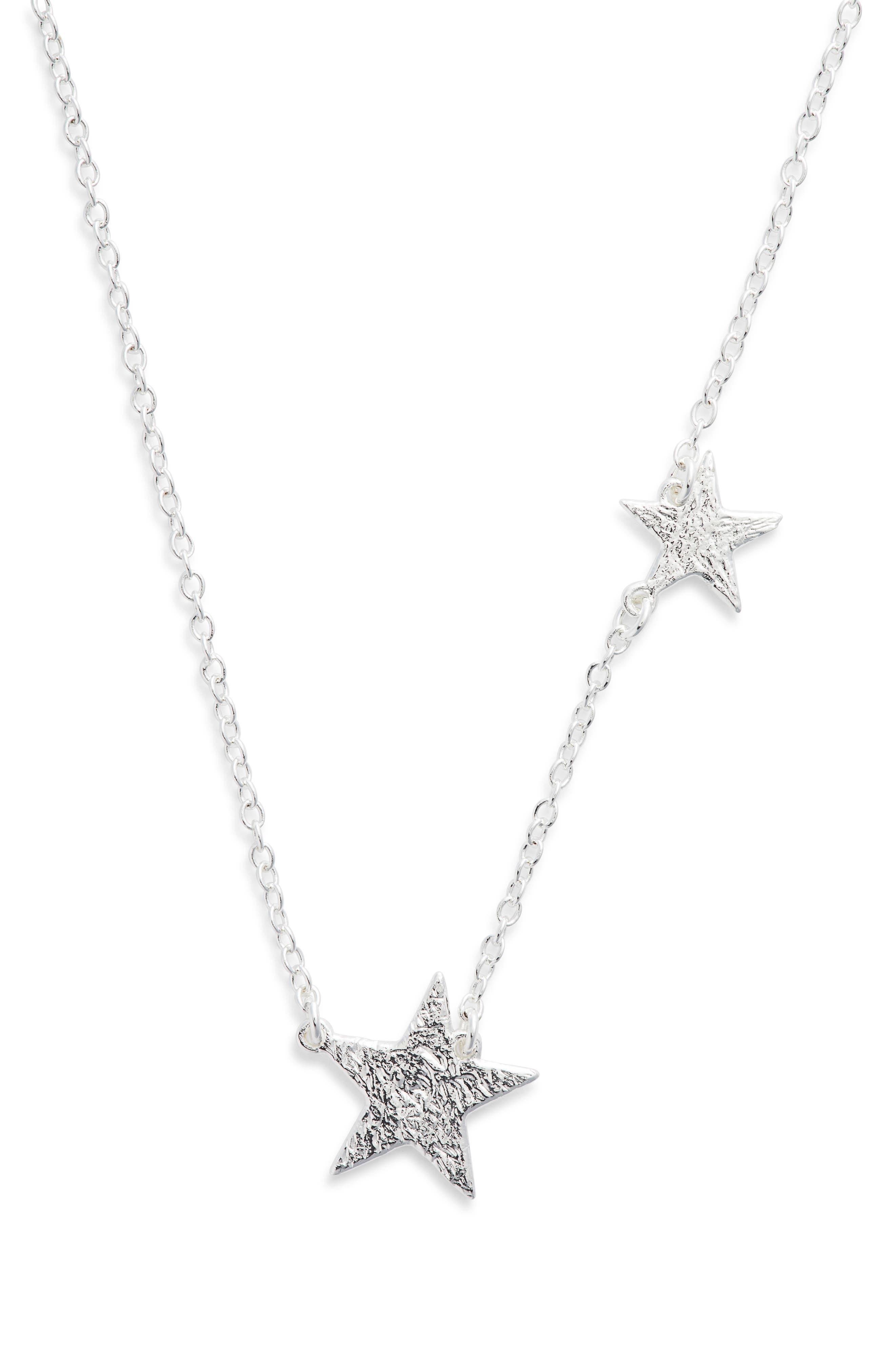 Star Pendant Necklace,                         Main,                         color, SILVER