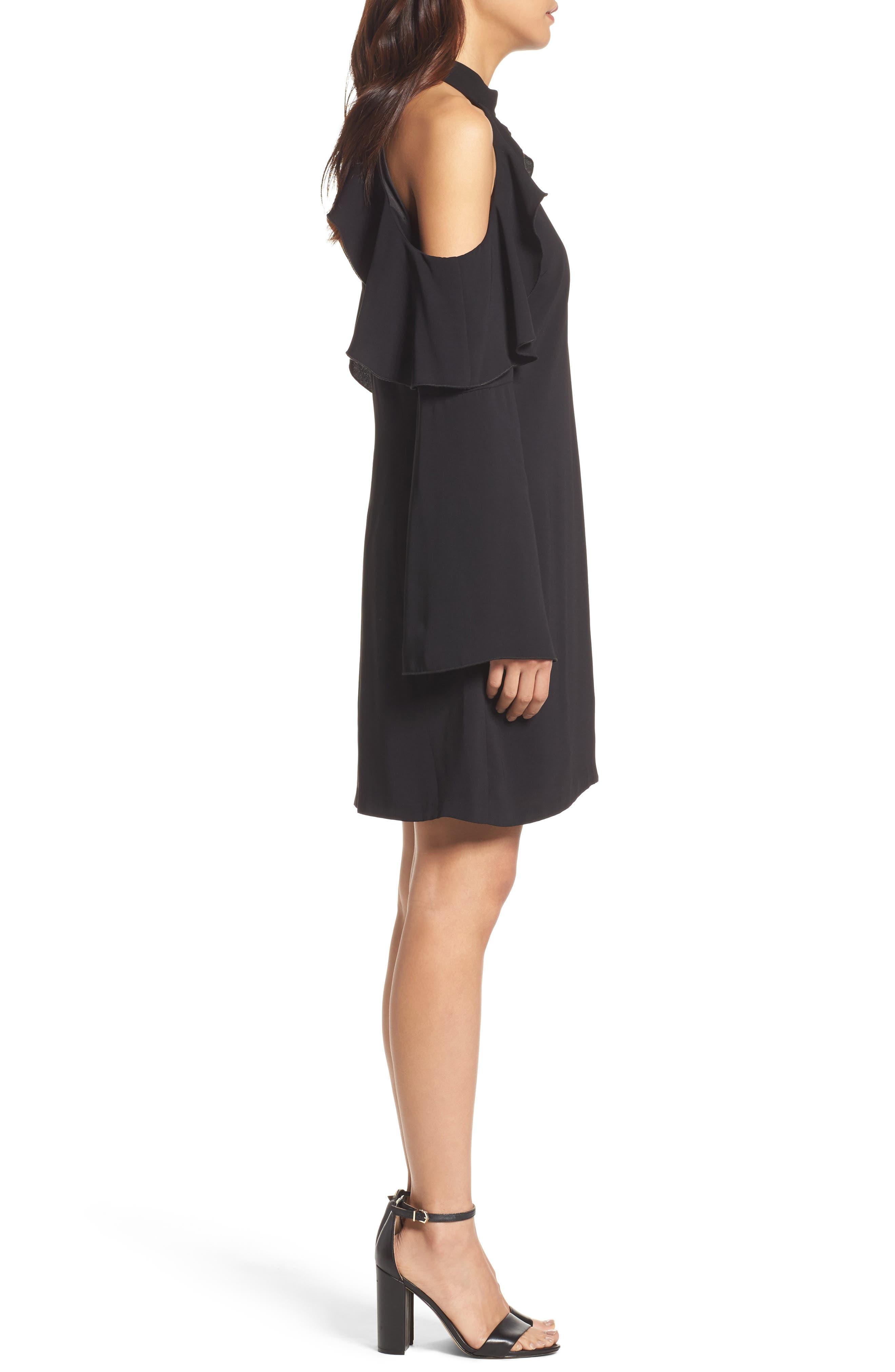 Sydney Cold Shoulder Dress,                             Alternate thumbnail 3, color,                             001