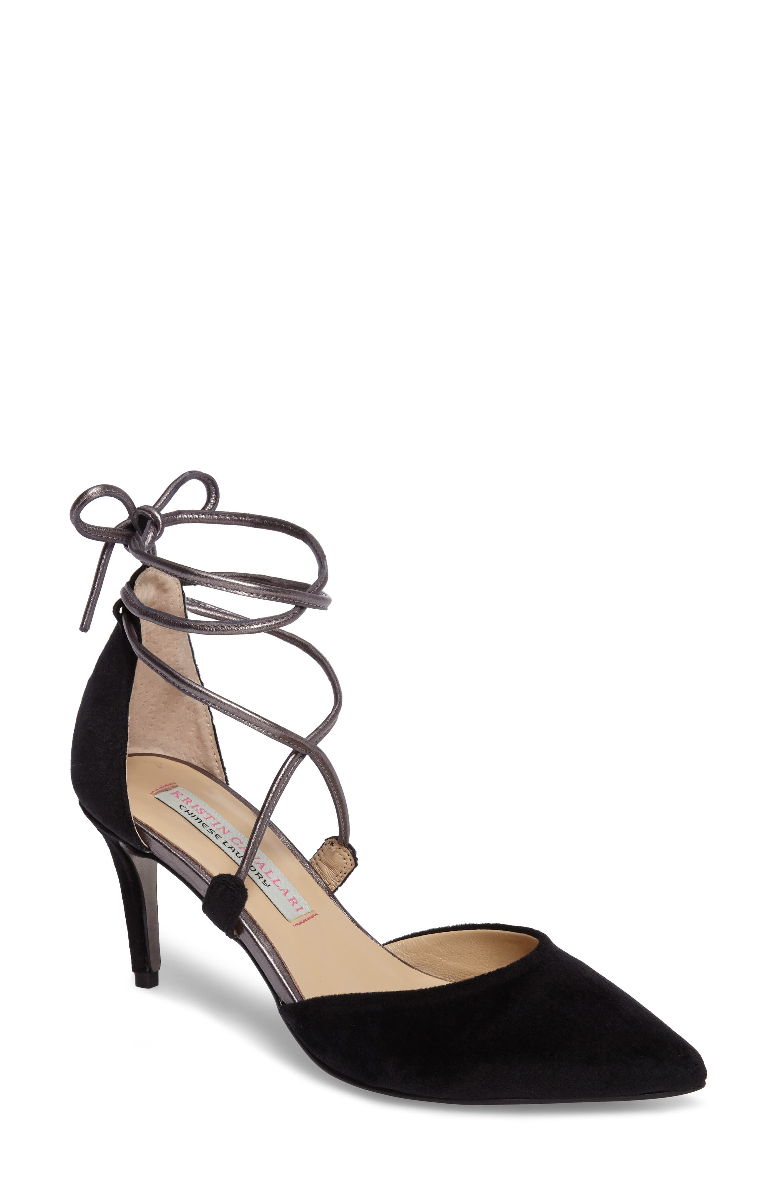 'Opel' Lace-Up Pointy Toe Pump,                             Main thumbnail 1, color,                             002