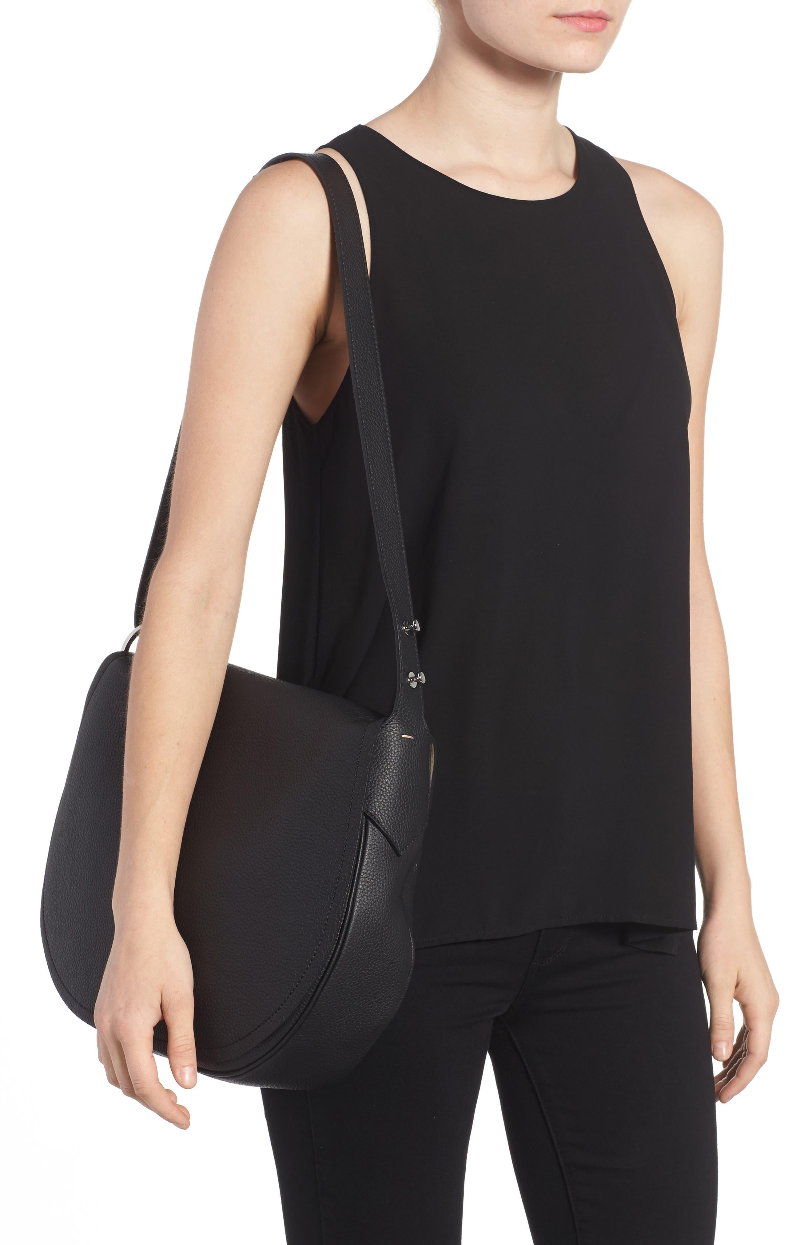 Valeria Cachemire Leather Saddle Bag,                             Alternate thumbnail 2, color,                             001