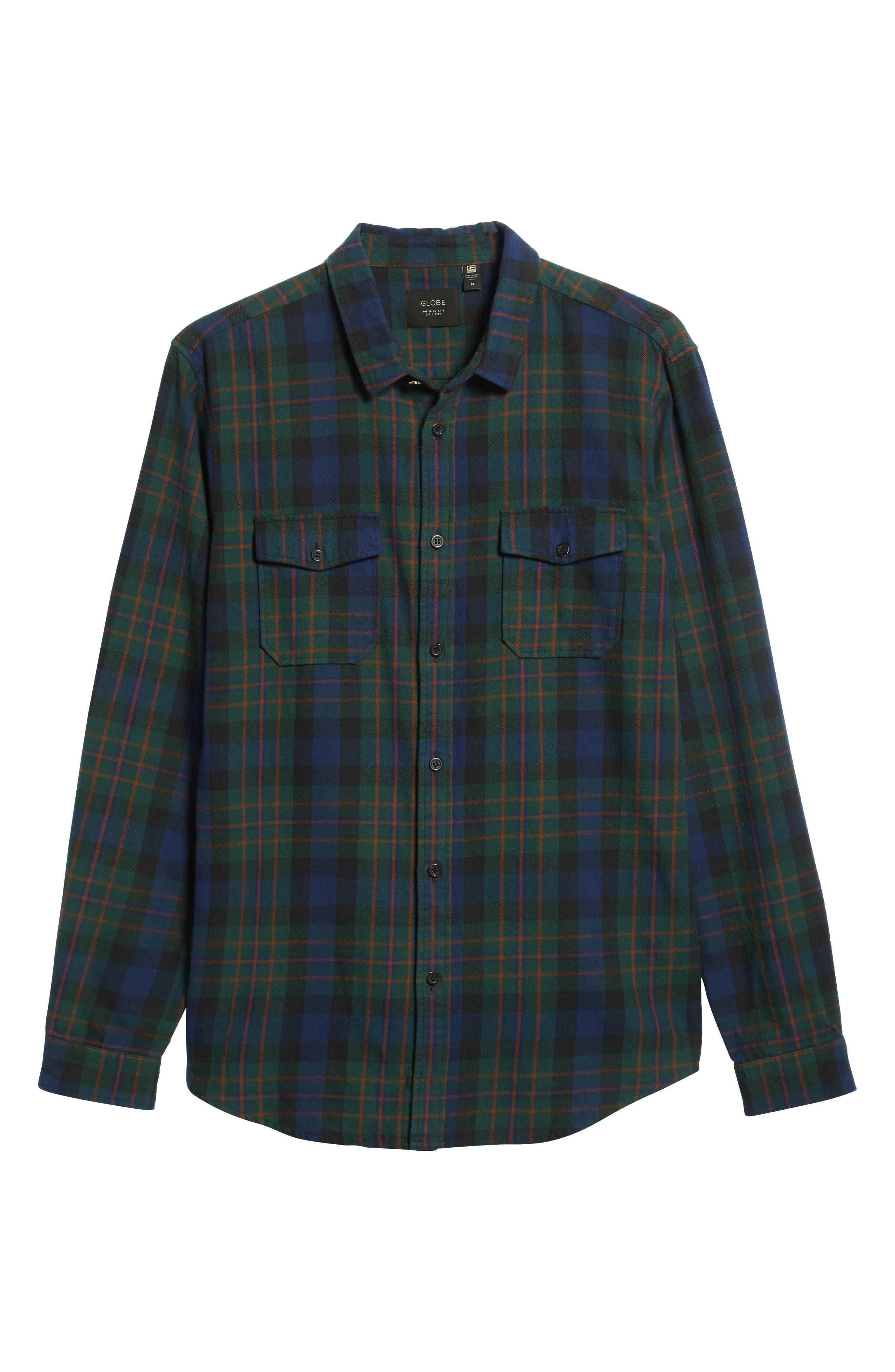 Flanigan Woven Shirt,                             Alternate thumbnail 6, color,                             BOTTLE GREEN