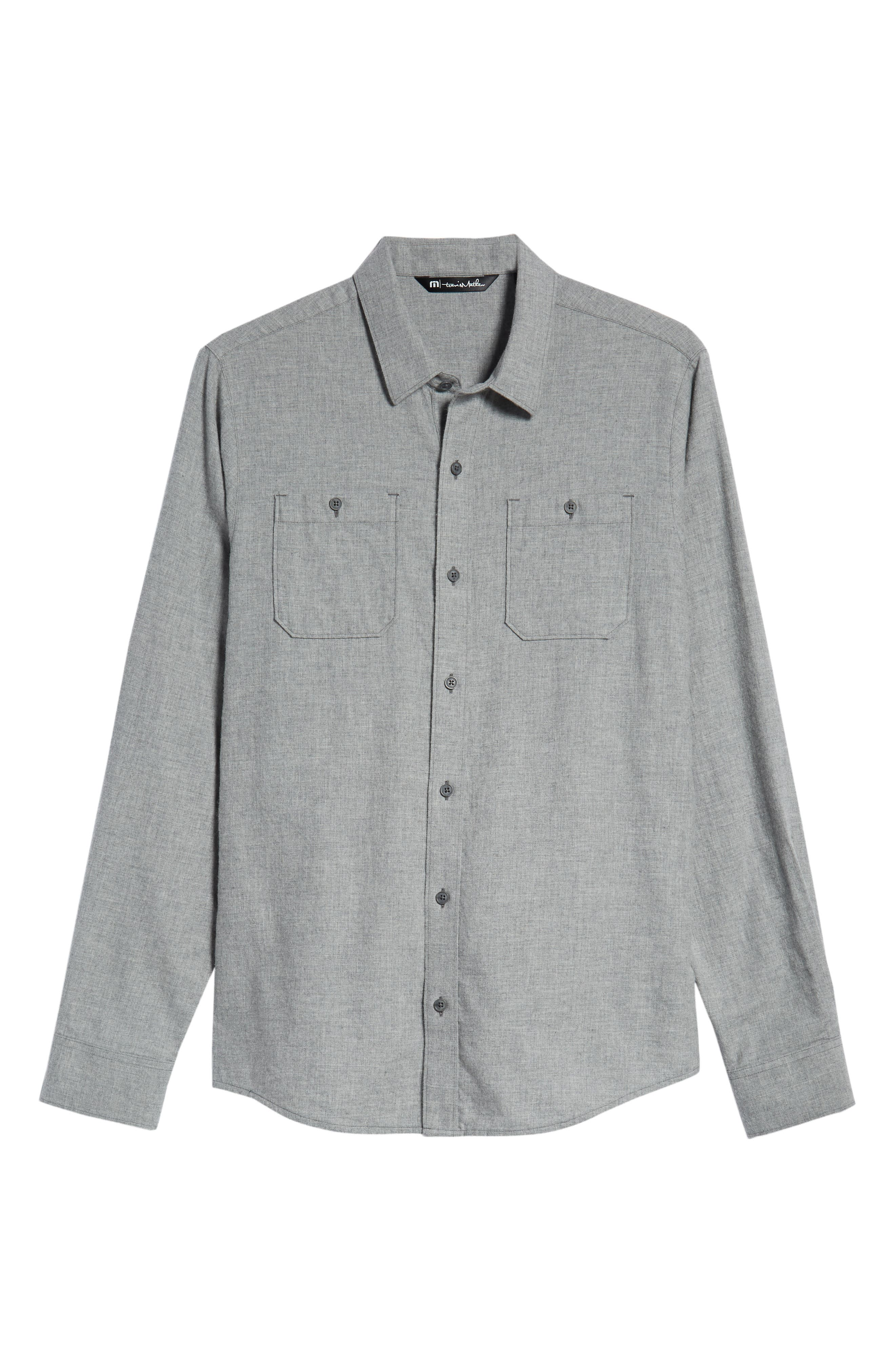 Hefe Regular Fit Flannel Sport Shirt,                             Alternate thumbnail 5, color,                             GREY QUITE SHADE
