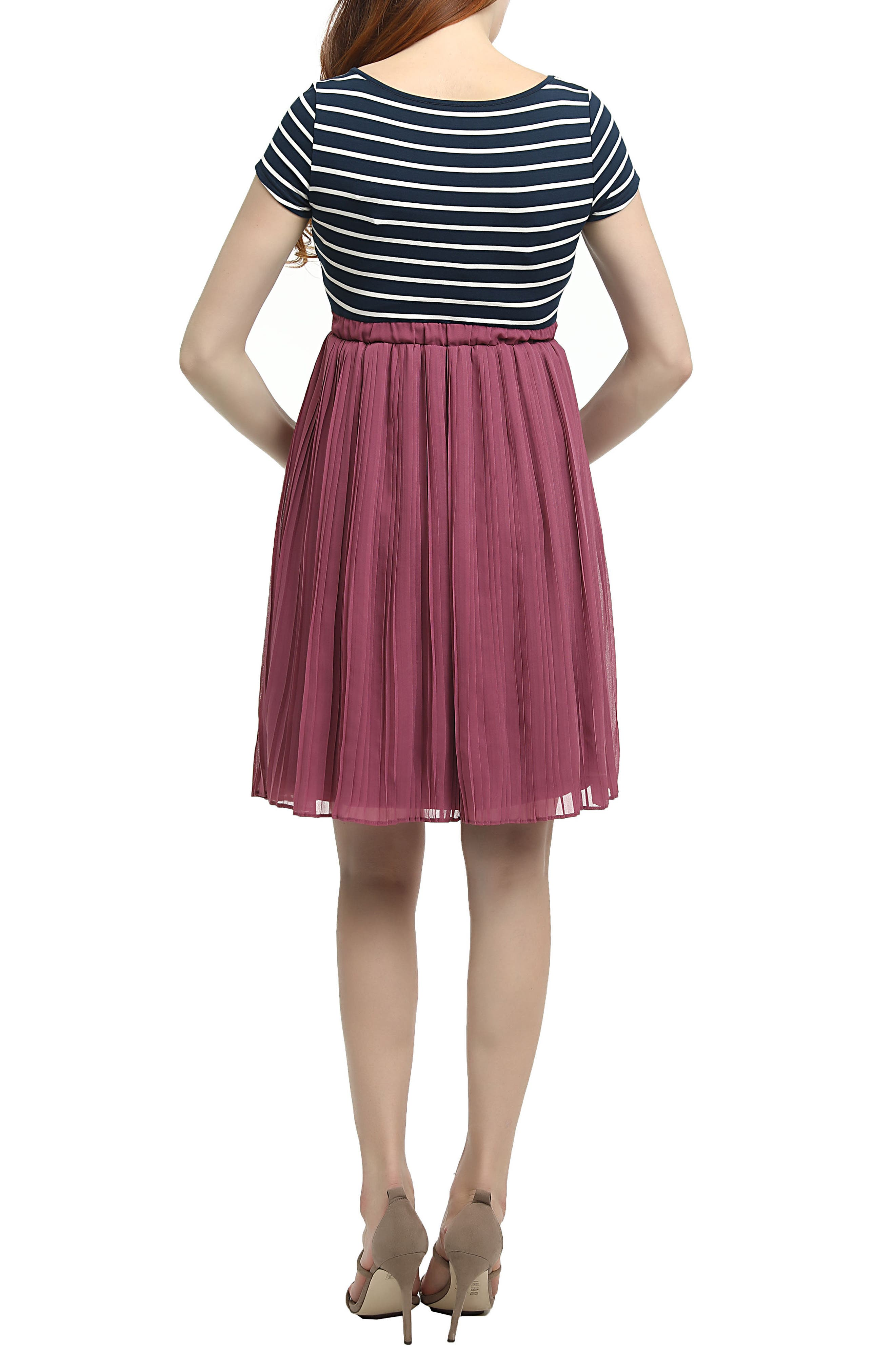 Everly Stripe Pleated Maternity Dress,                             Alternate thumbnail 2, color,                             MULTICOLORED