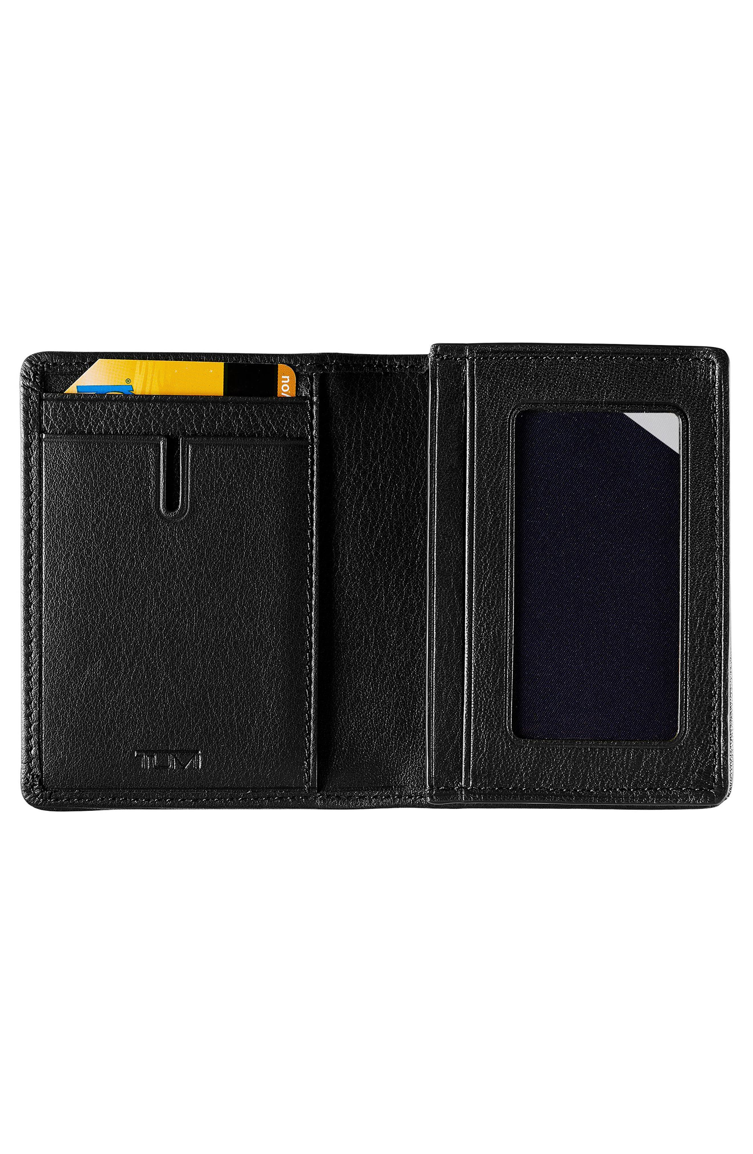 Leather RFID Card Case,                             Alternate thumbnail 2, color,                             BLACK TEXTURED