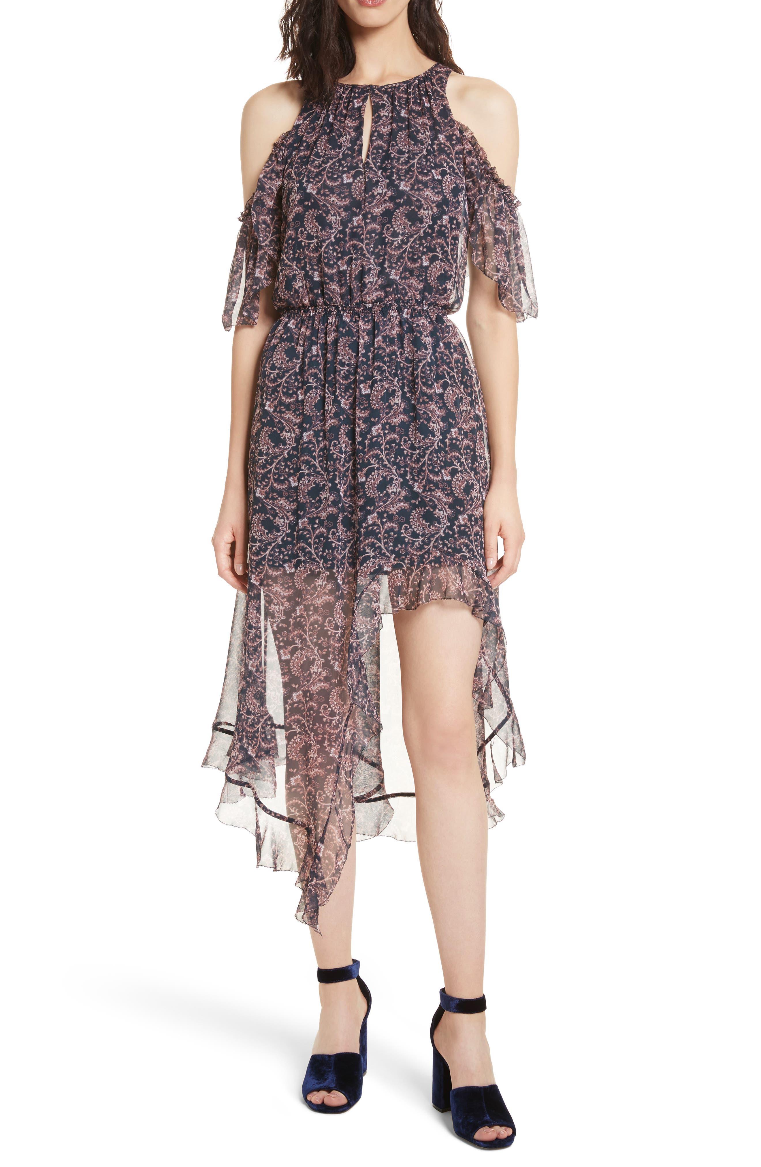 Agnek Cold Shoulder Silk Dress, Main, color, 694