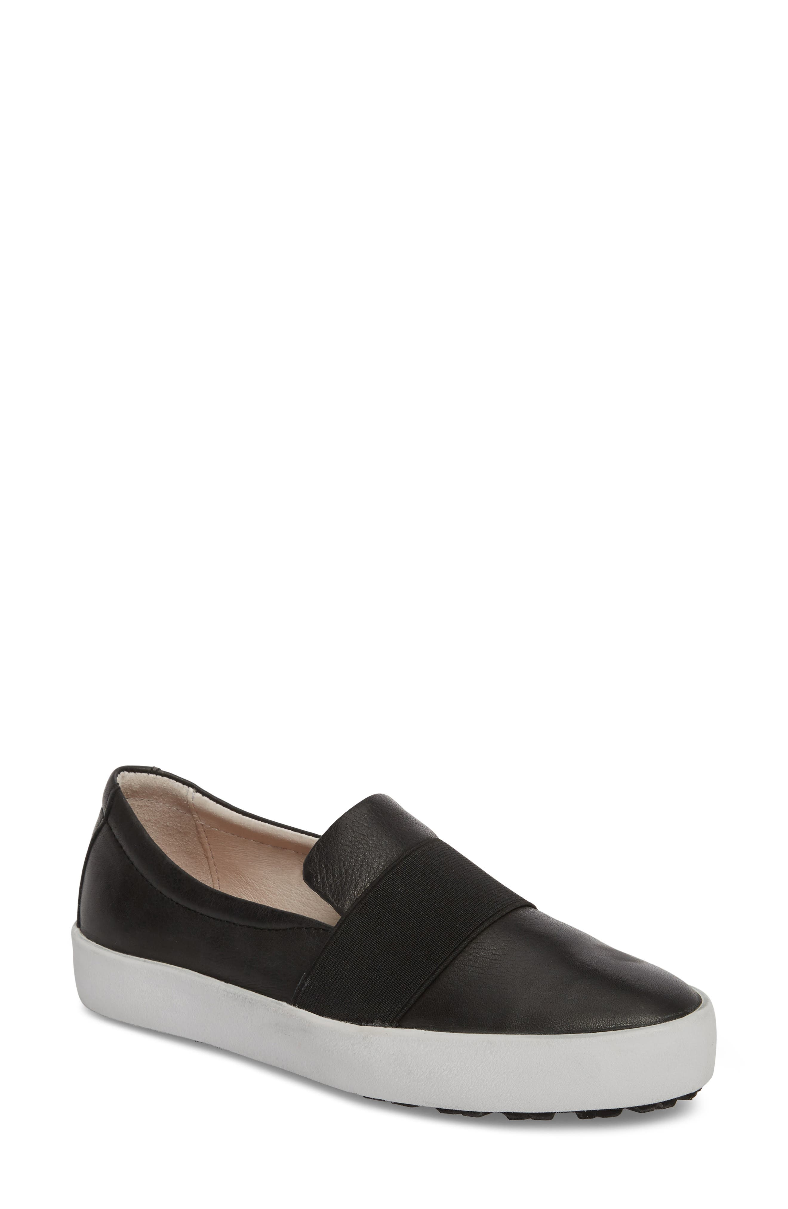 PL99 Slip-On Sneaker,                         Main,                         color, BLACK LEATHER