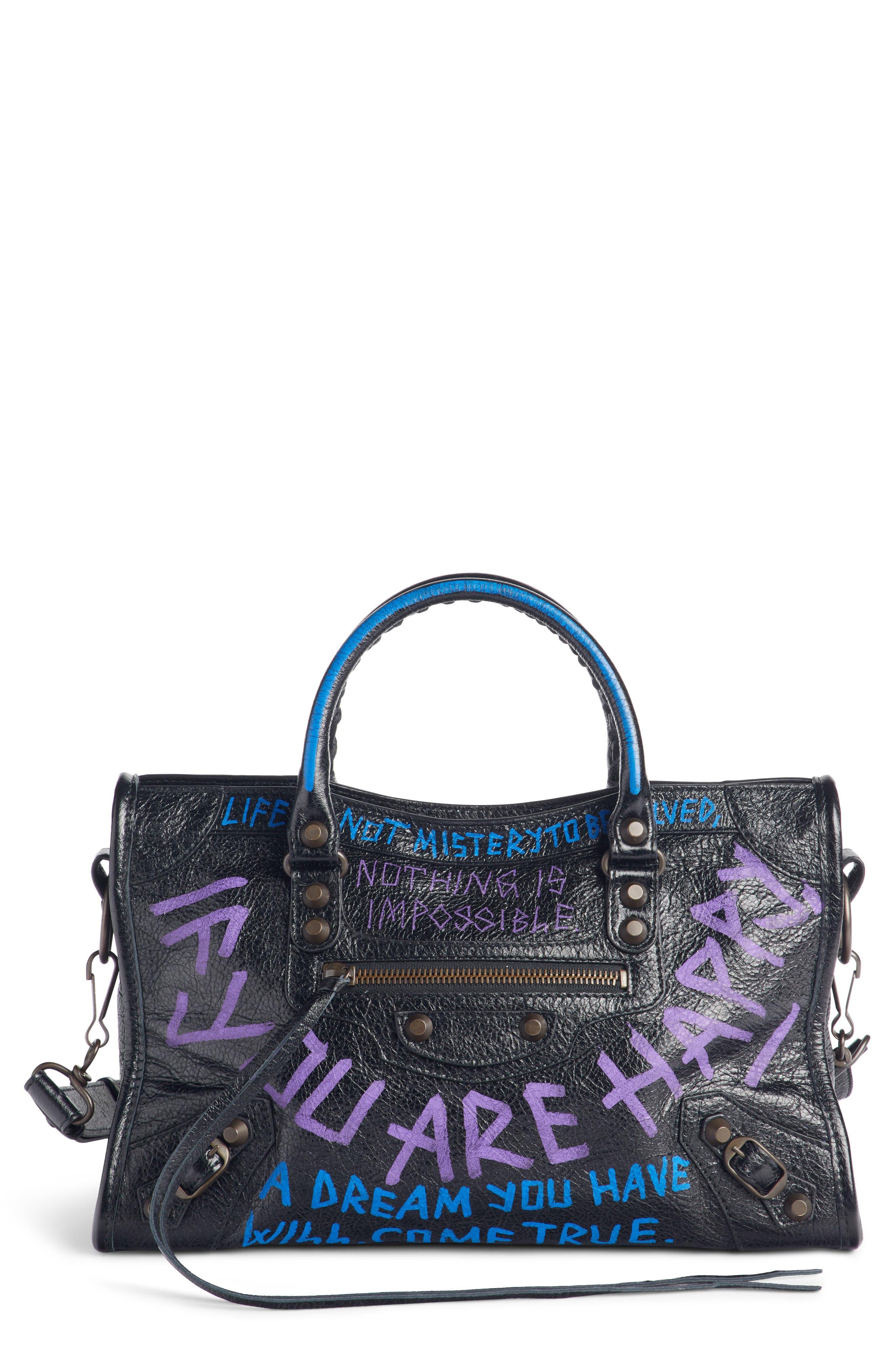 Small Classic City Graffiti Leather Tote,                             Main thumbnail 1, color,                             NOIR/ BLEU/ VIOLET