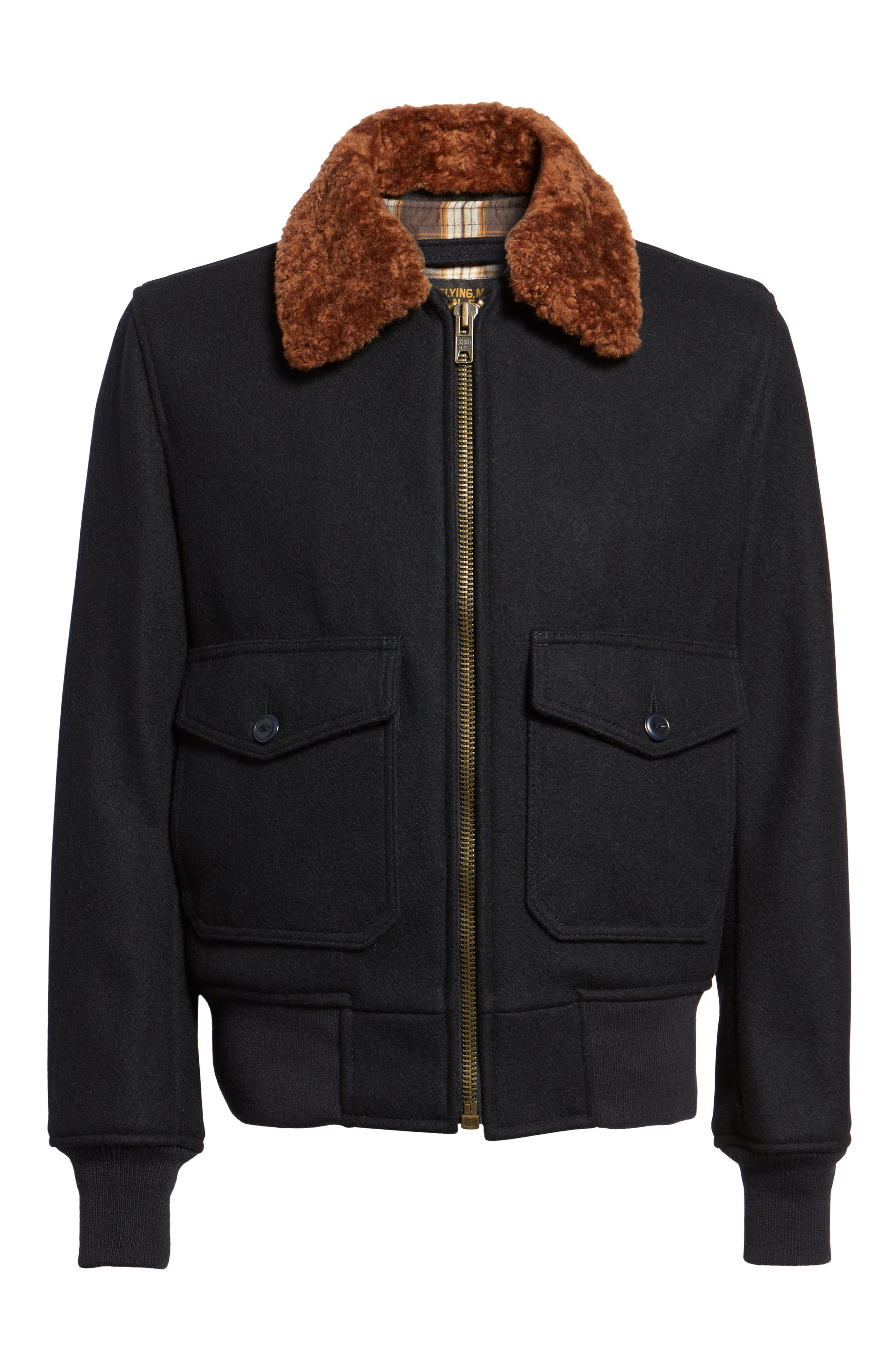 SchottNYC'G-1' Zip Front Bomber with Genuine Shearling Collar,                             Alternate thumbnail 6, color,                             410