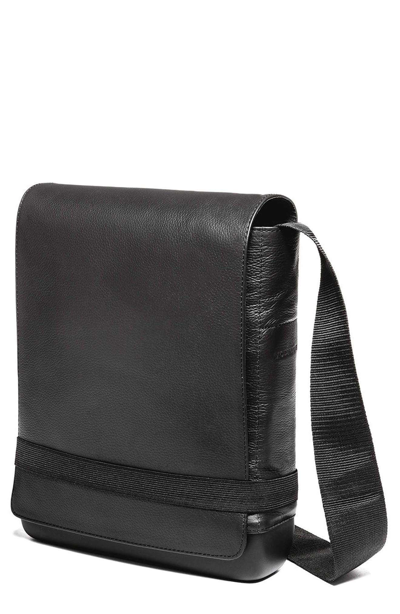 MOLESKINE,                             Leather Reporter Bag,                             Main thumbnail 1, color,                             001