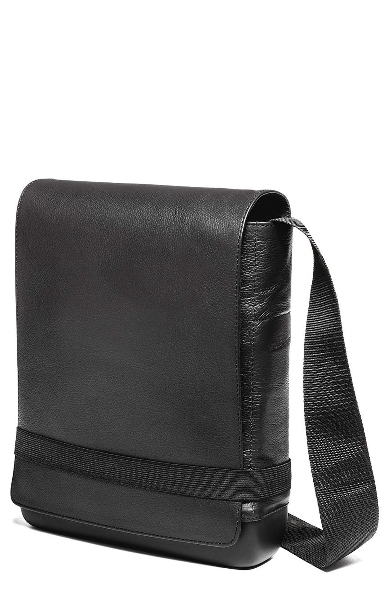 Leather Reporter Bag,                         Main,                         color, 001