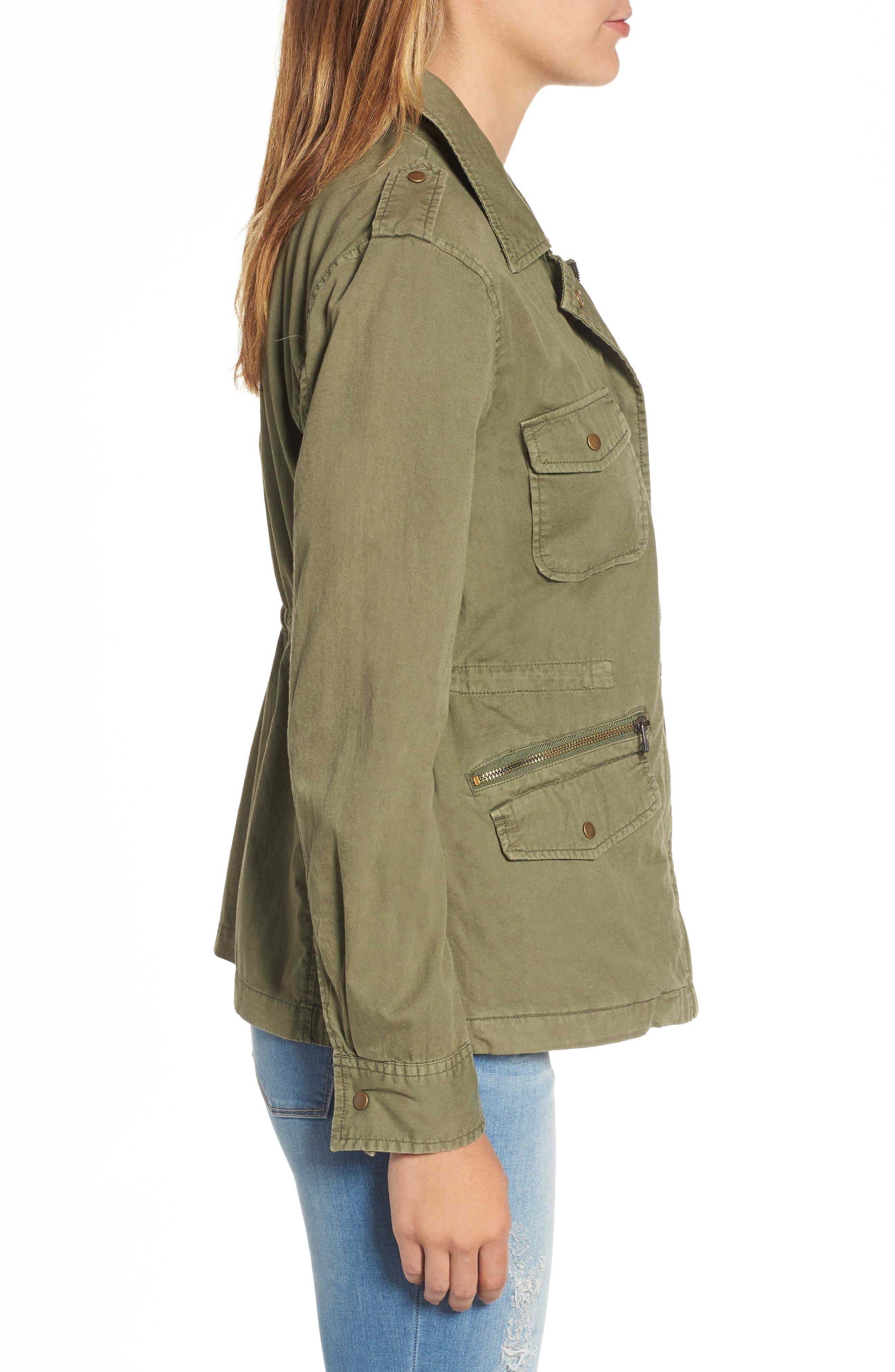 Lily Aldridge for Velvet by Graham & Spencer Army Jacket,                             Alternate thumbnail 4, color,                             FOREST GREEN