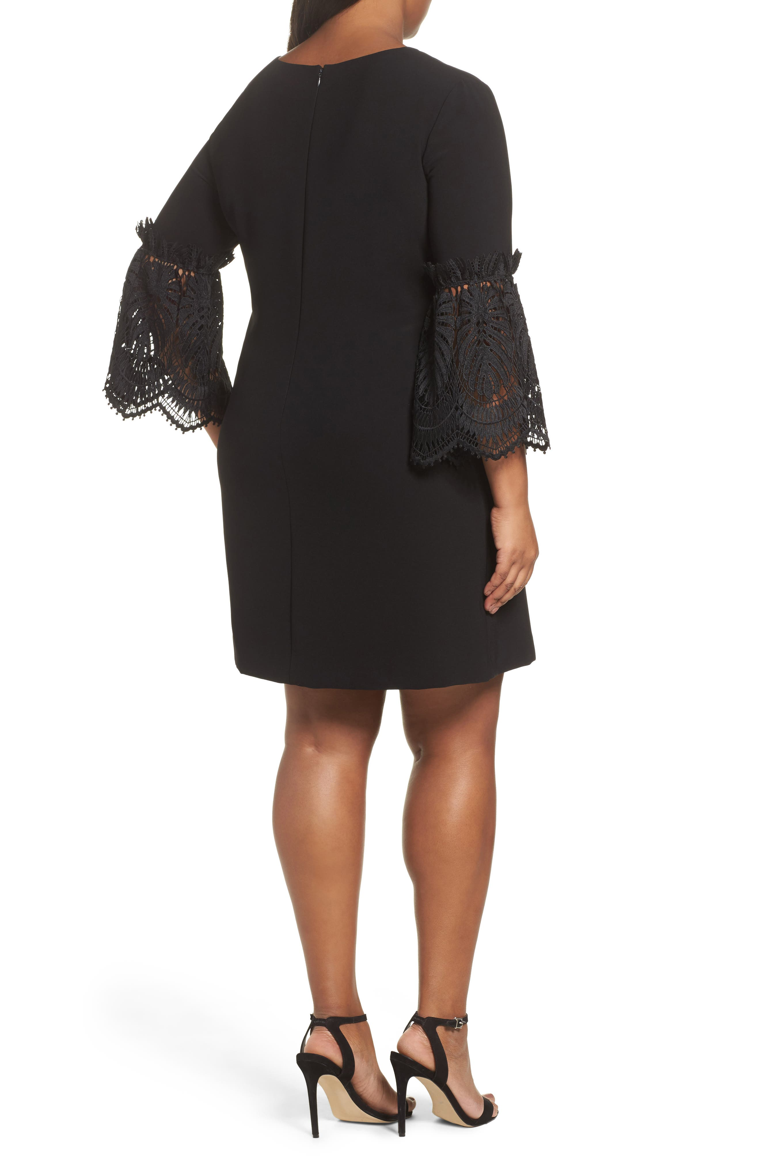 Lace Bell Sleeve Shift Dress,                             Alternate thumbnail 2, color,                             001