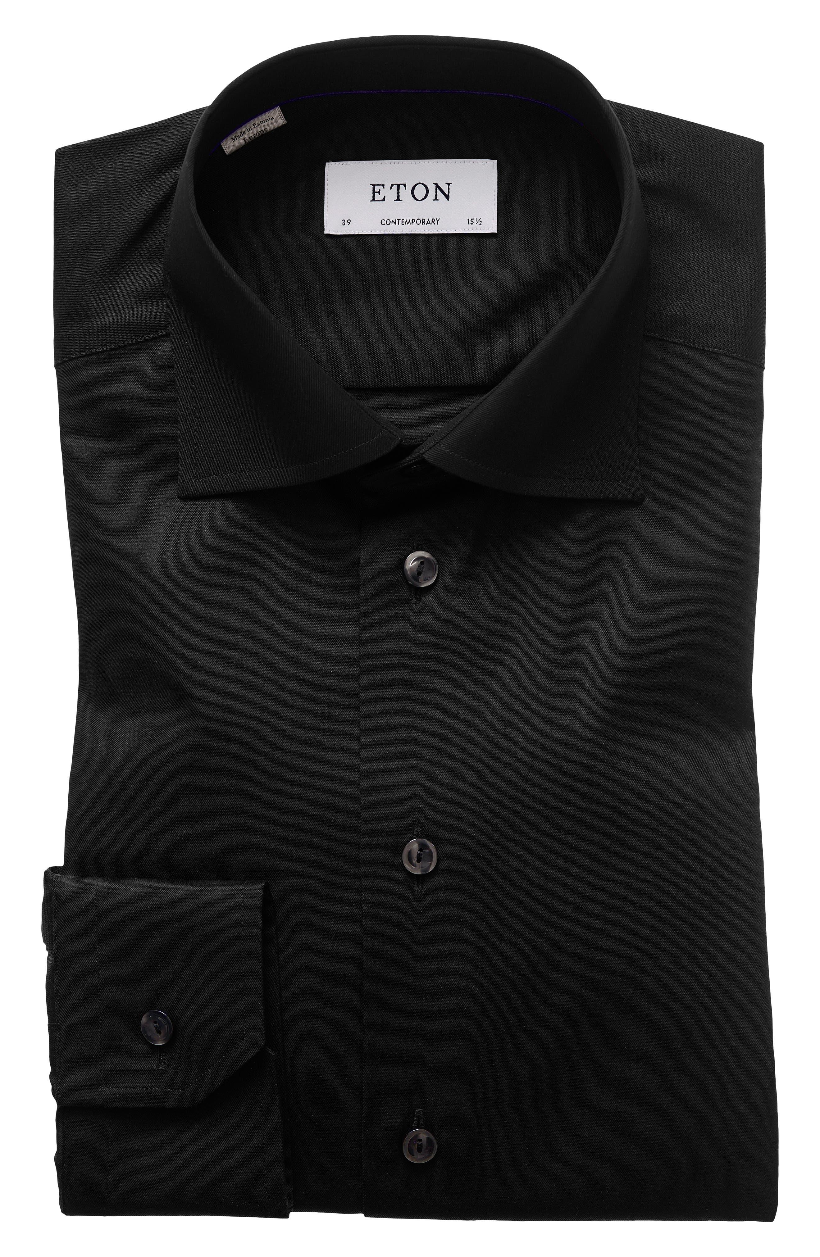 Contemporary Fit Twill Dress Shirt,                             Alternate thumbnail 3, color,                             BLACK
