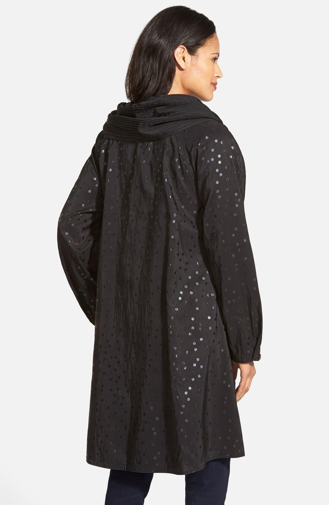 'Donatella' Reversible Dot Pleat Hood Packable Travel Coat,                             Alternate thumbnail 8, color,                             017