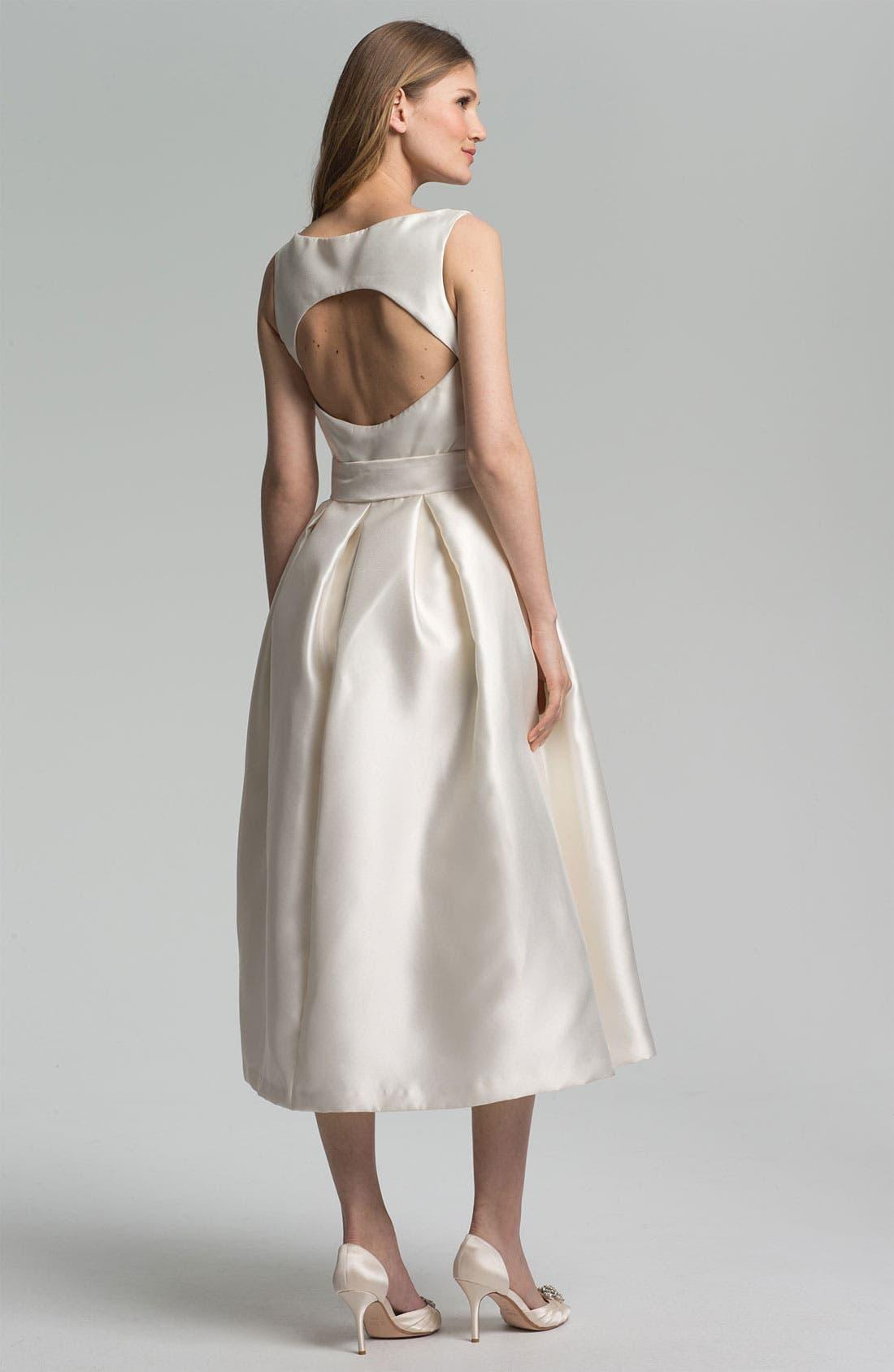 Faille Satin Fit & Flare Dress,                             Alternate thumbnail 4, color,                             900