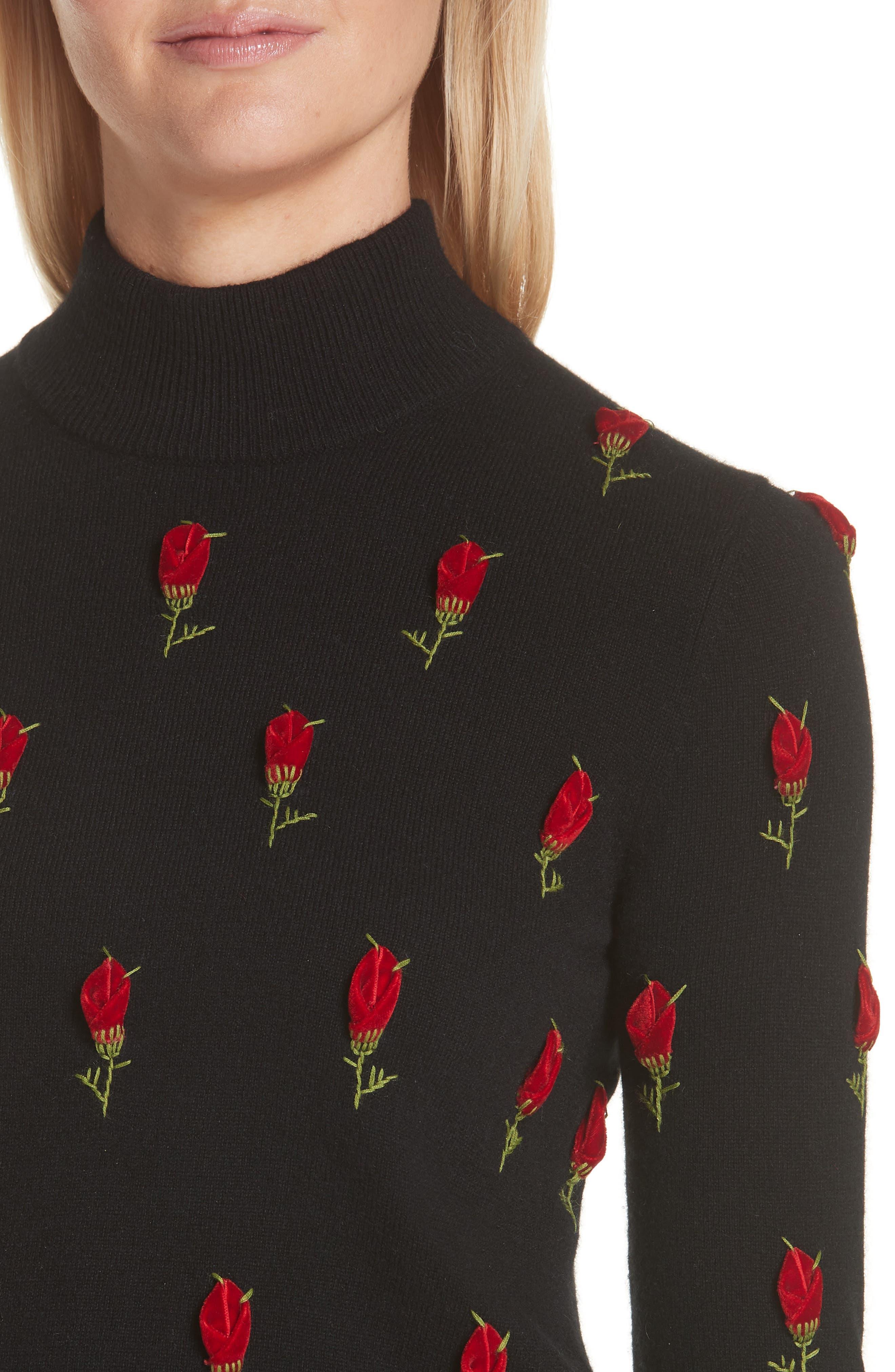 Velvet Rose Embroidered Cashmere Sweater,                             Alternate thumbnail 4, color,                             BLACK / CRIMSON