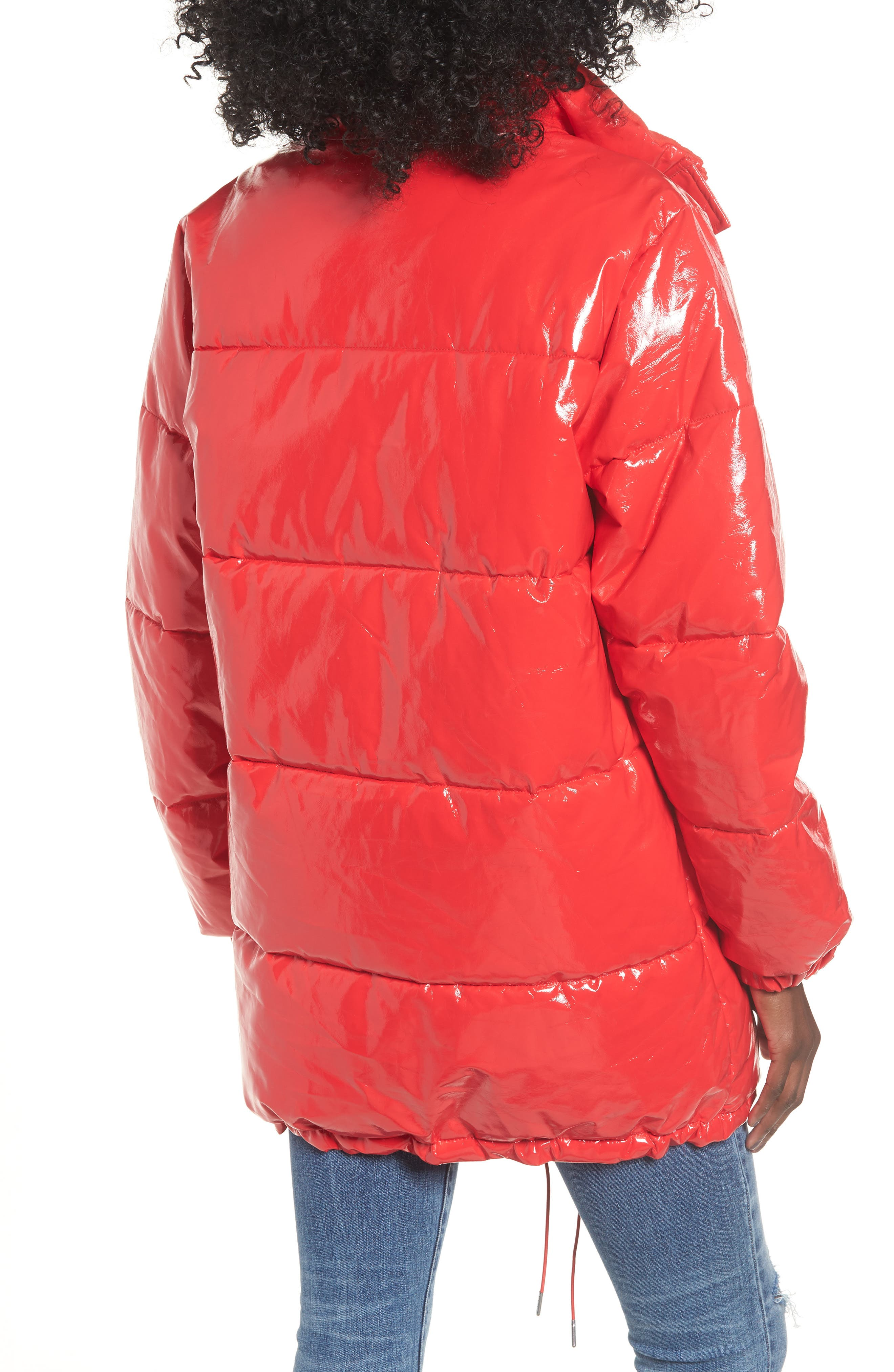 Glossy Puffer Jacket,                             Alternate thumbnail 2, color,                             TOMATO