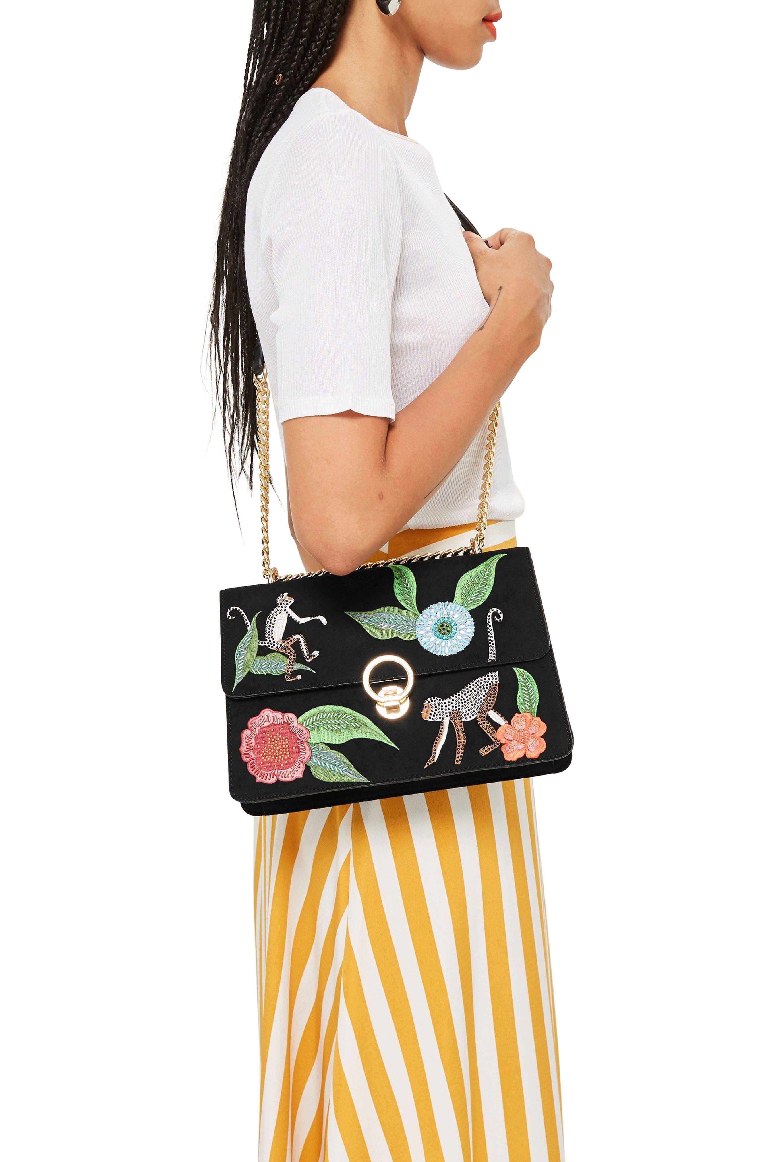 Milo Monkey Floral Shoulder Bag,                             Alternate thumbnail 2, color,                             BLACK