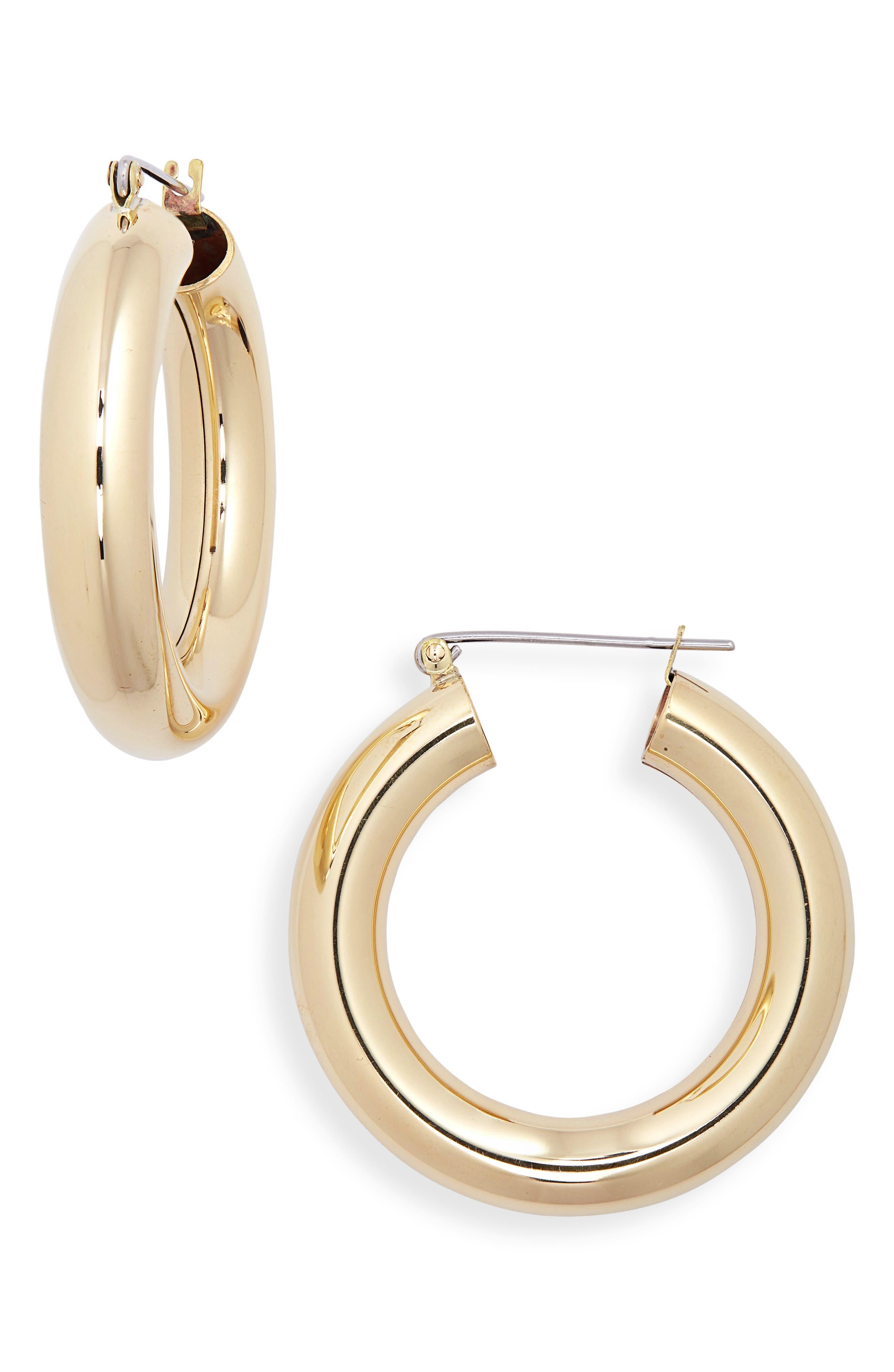 Round Hoop Earrings,                         Main,                         color, BRASS