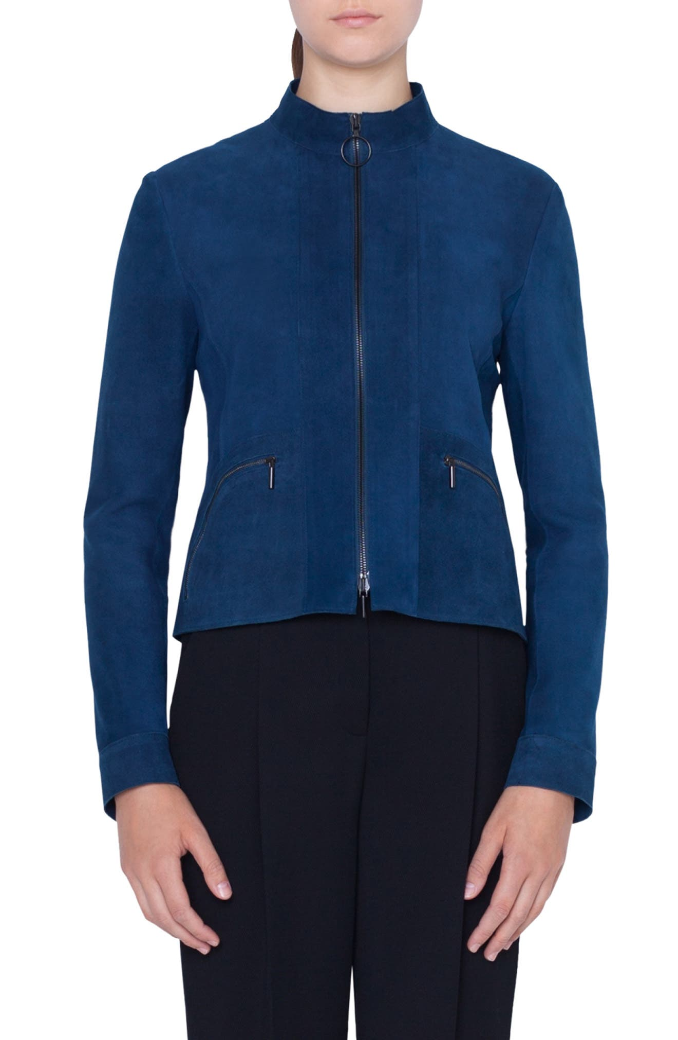 Zip-Front Stand-Collar Suede Jacket in Blu Mare