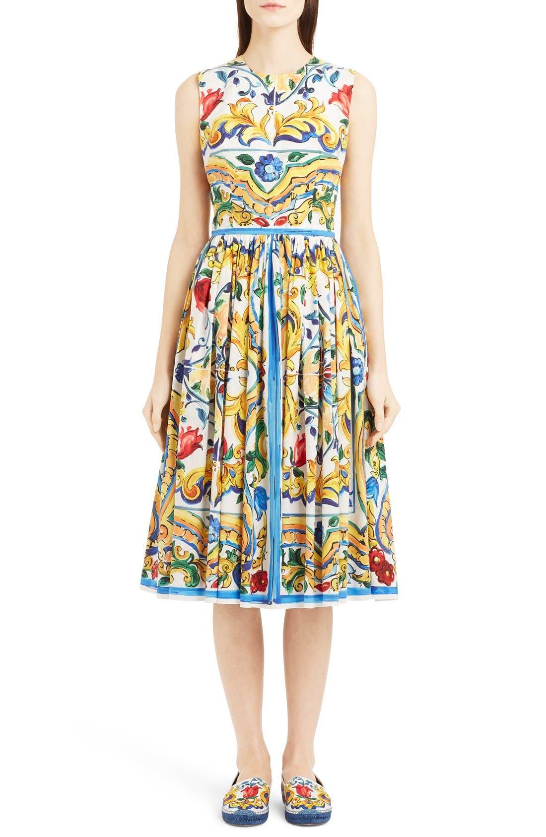 'Majolica' Tile Print Cotton Poplin Dress, Main, color, 700