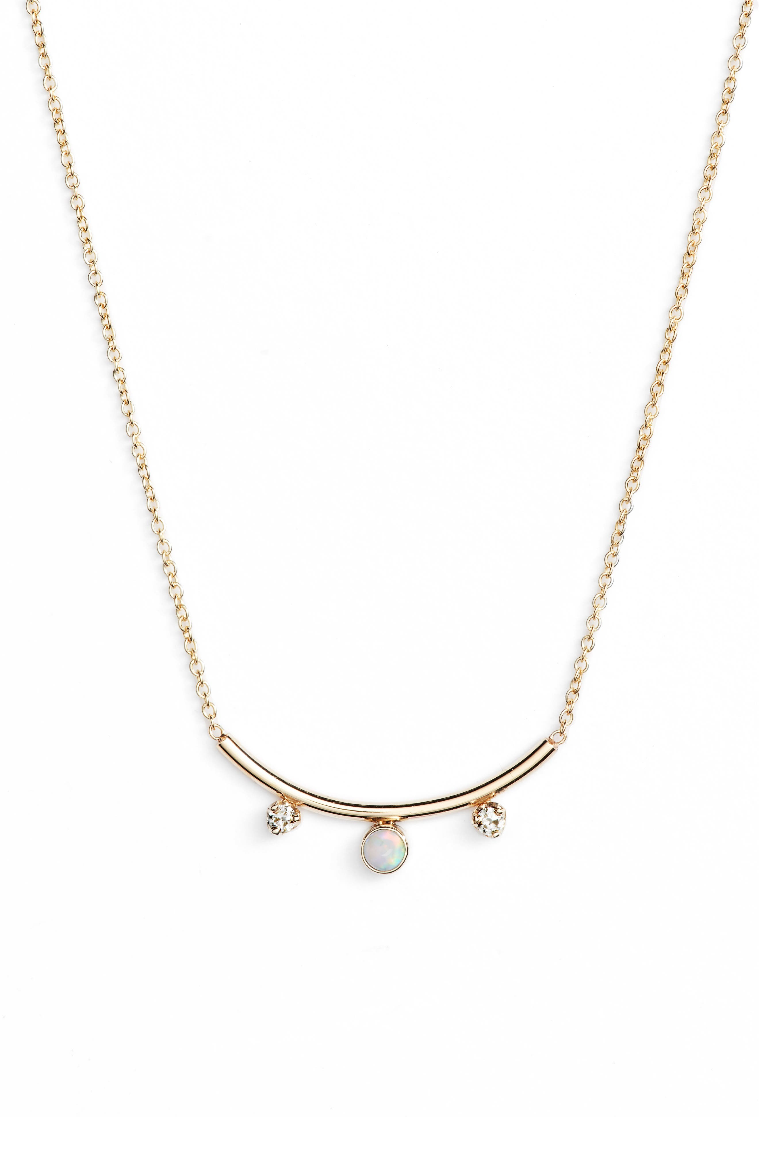 Zoe Chicco Curved Bar Diamond And Opal Pendant