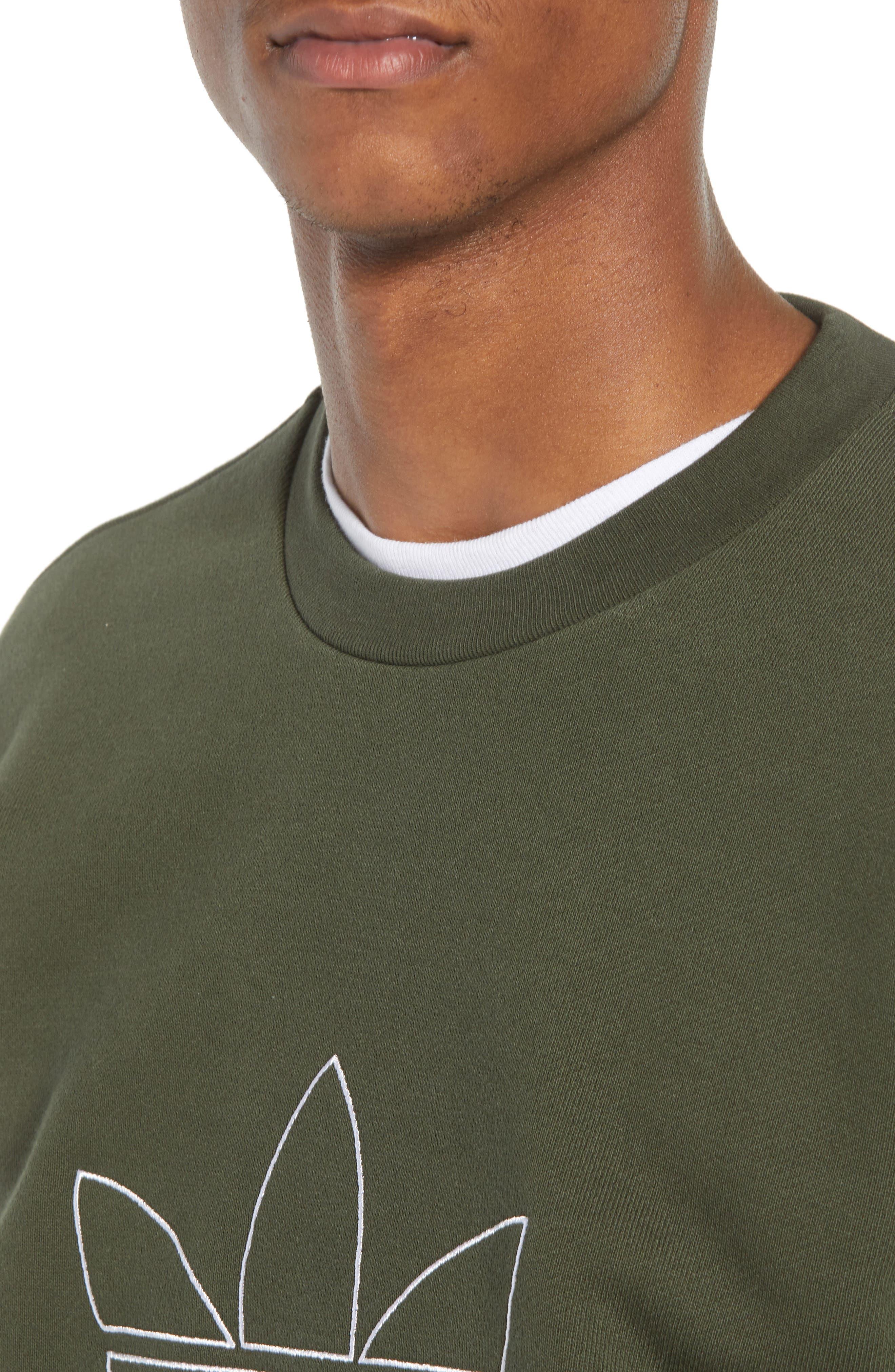 adidas Outline Trefoil Crewneck Sweatshirt,                             Alternate thumbnail 4, color,                             307