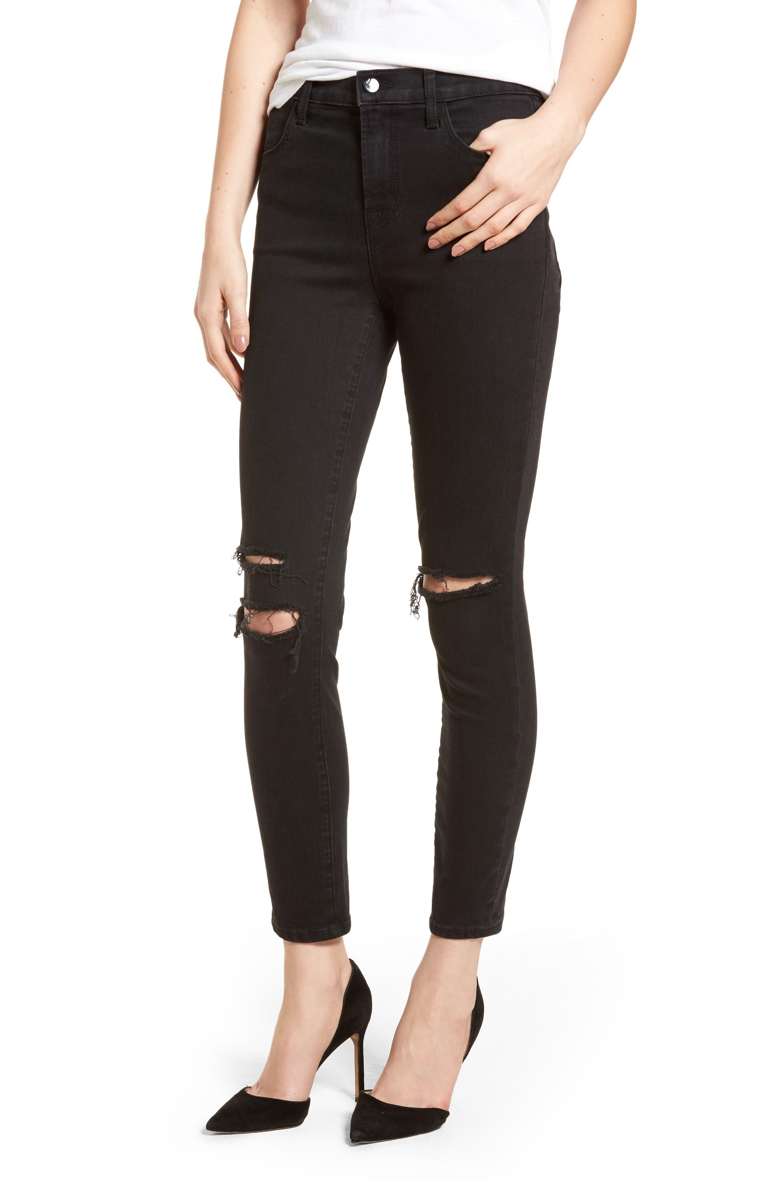 Alana High Waist Ankle Skinny Jeans,                         Main,                         color, BLACK MERCY
