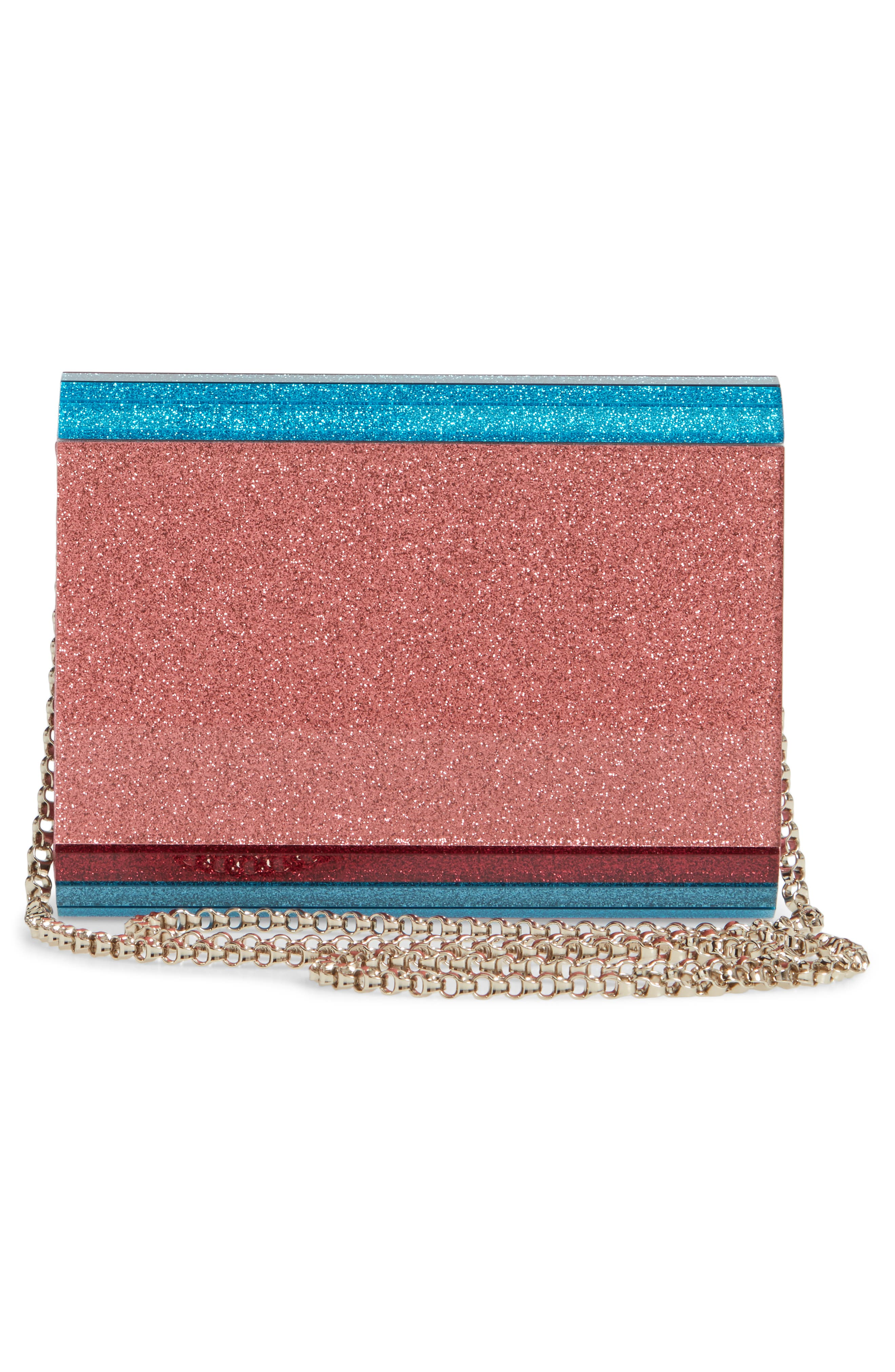 JIMMY CHOO,                             Candy Colorblock Glitter Clutch,                             Alternate thumbnail 3, color,                             RASPBERRY MIX