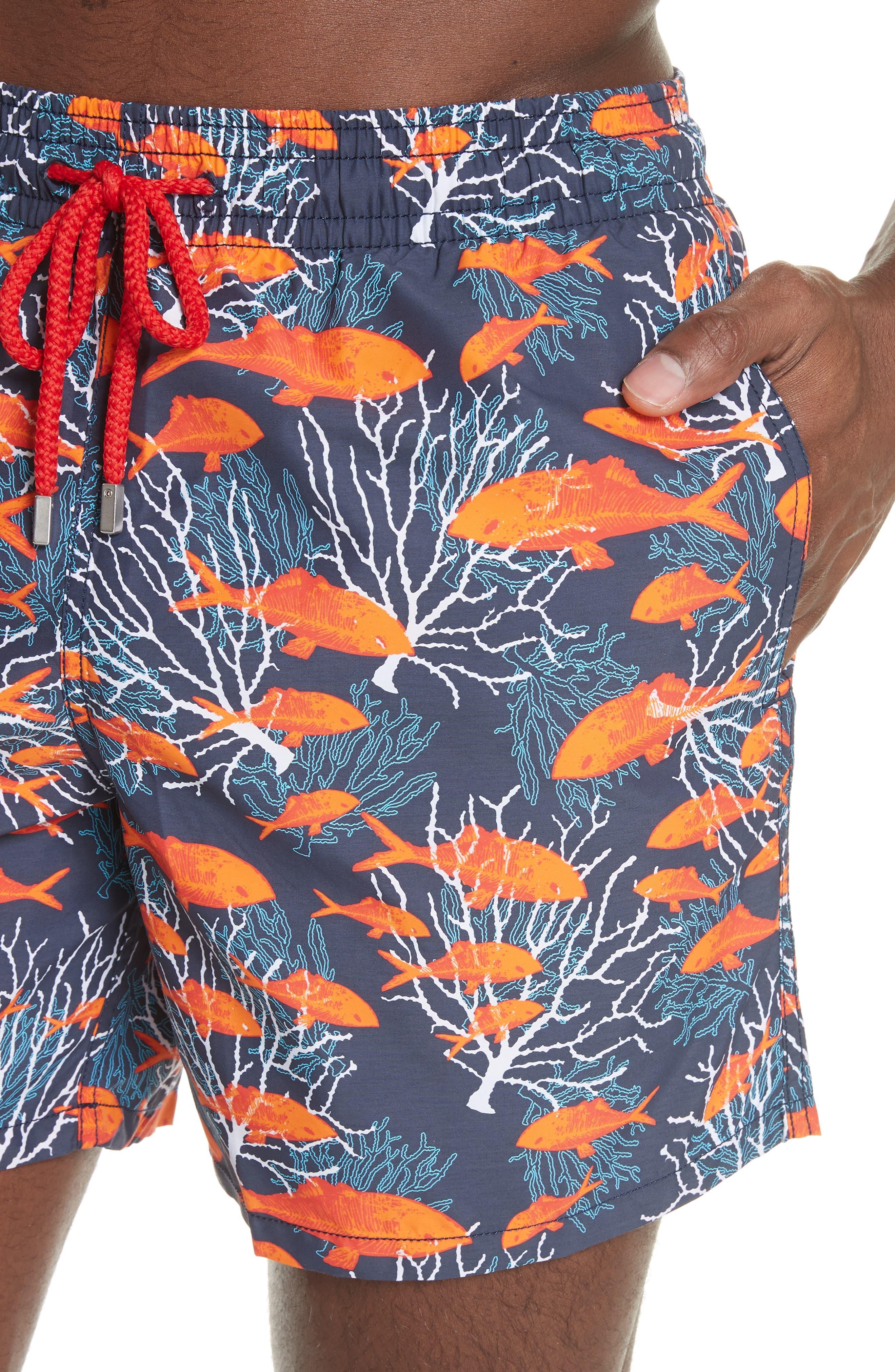 Depth of Seas Print Swim Trunks,                             Alternate thumbnail 4, color,                             NAVY