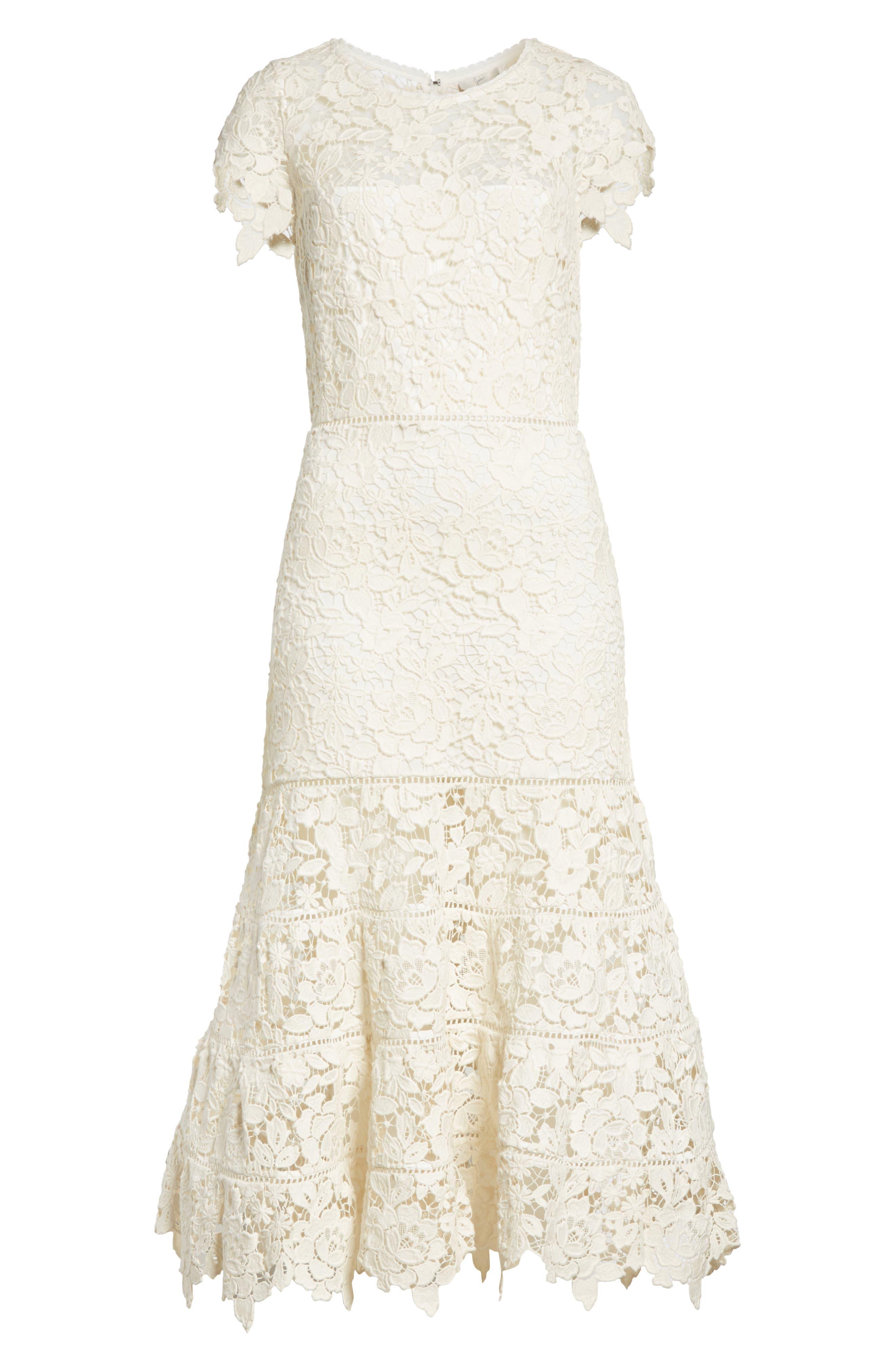 Celedonia Scallop Lace Dress,                             Alternate thumbnail 6, color,                             PORCELAIN