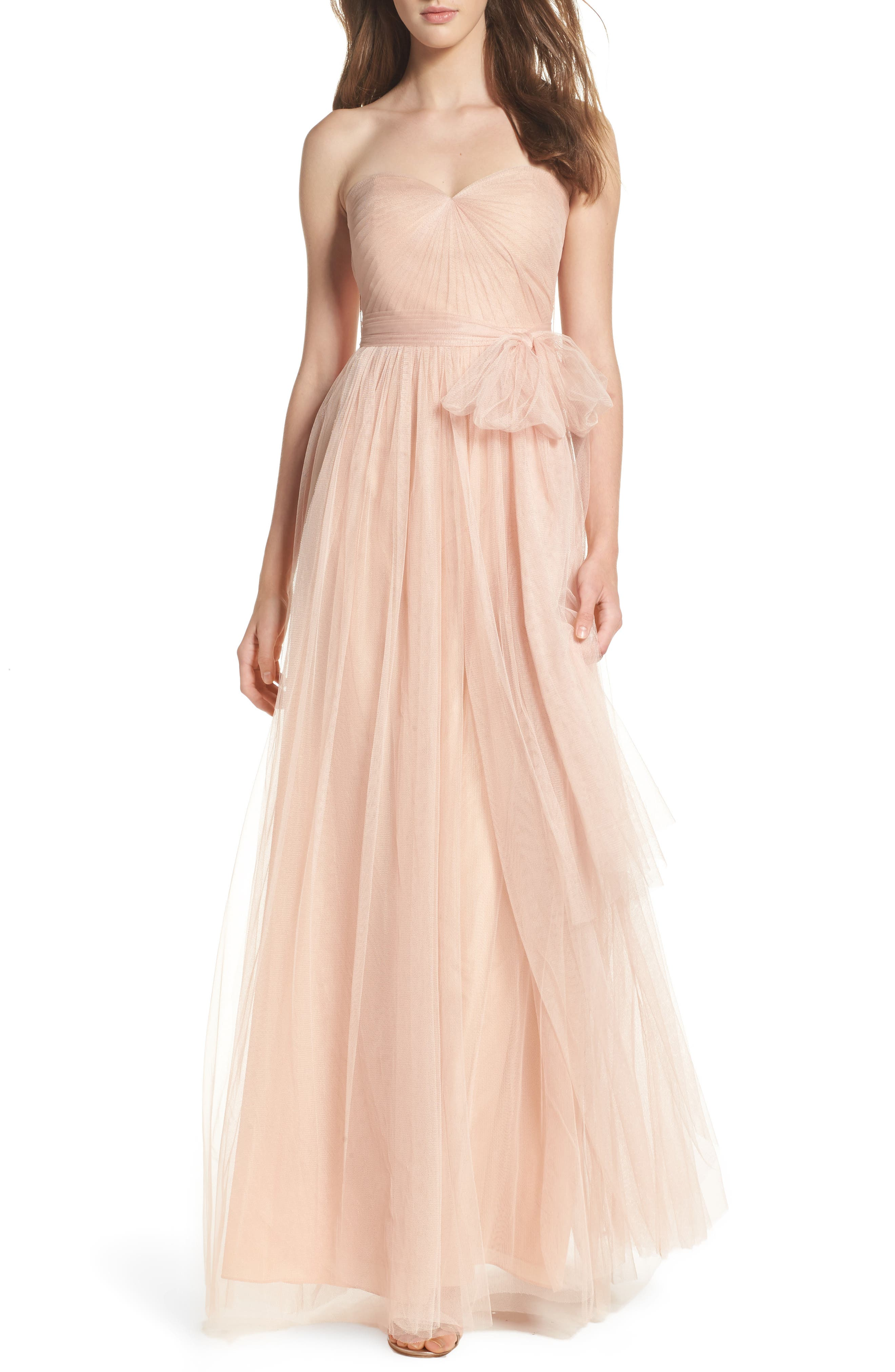 Annabelle Convertible Tulle Column Dress,                             Main thumbnail 1, color,                             CAMEO PINK
