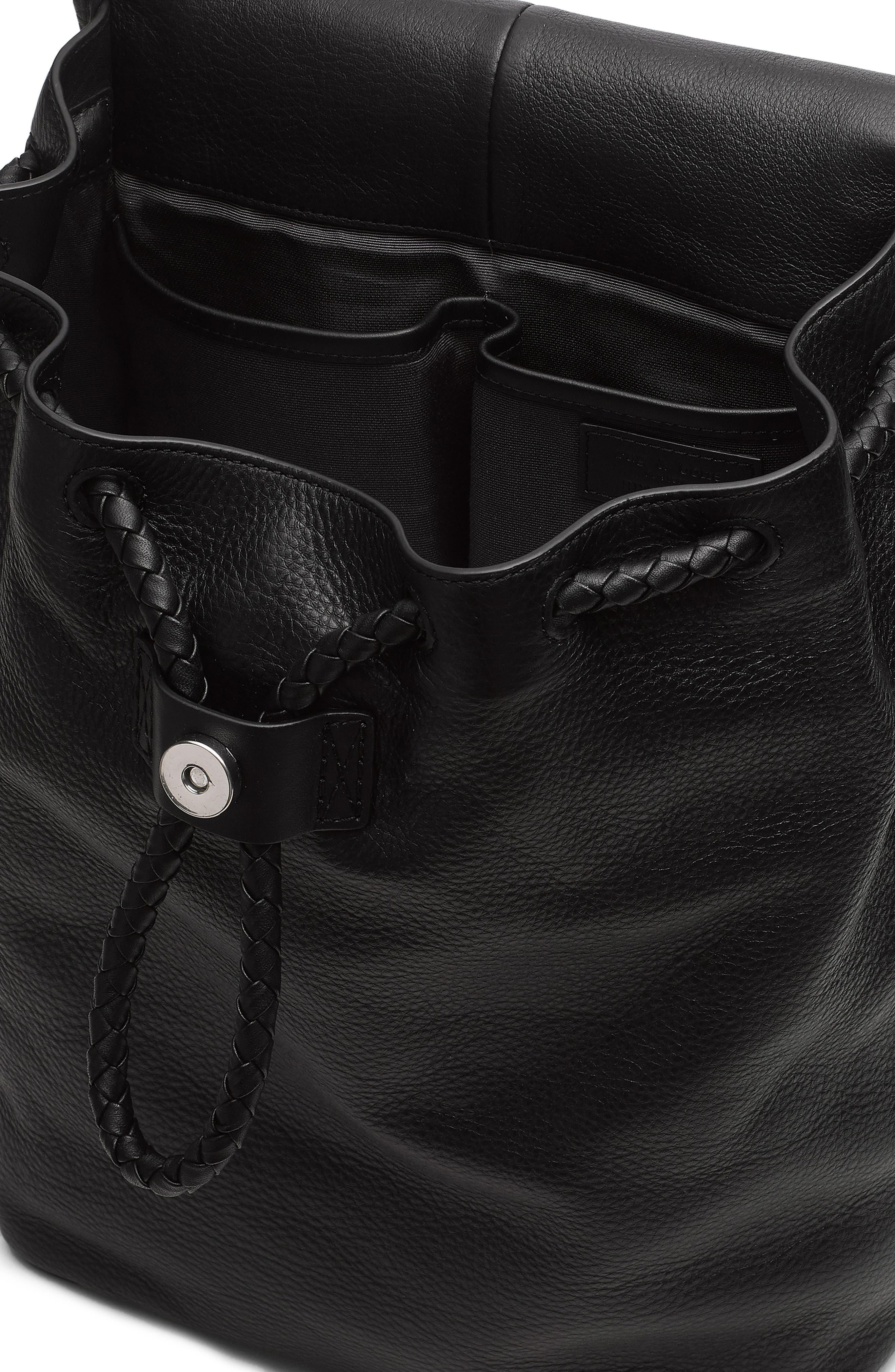 RAG & BONE,                             Loner Leather Backpack,                             Alternate thumbnail 4, color,                             BLACK