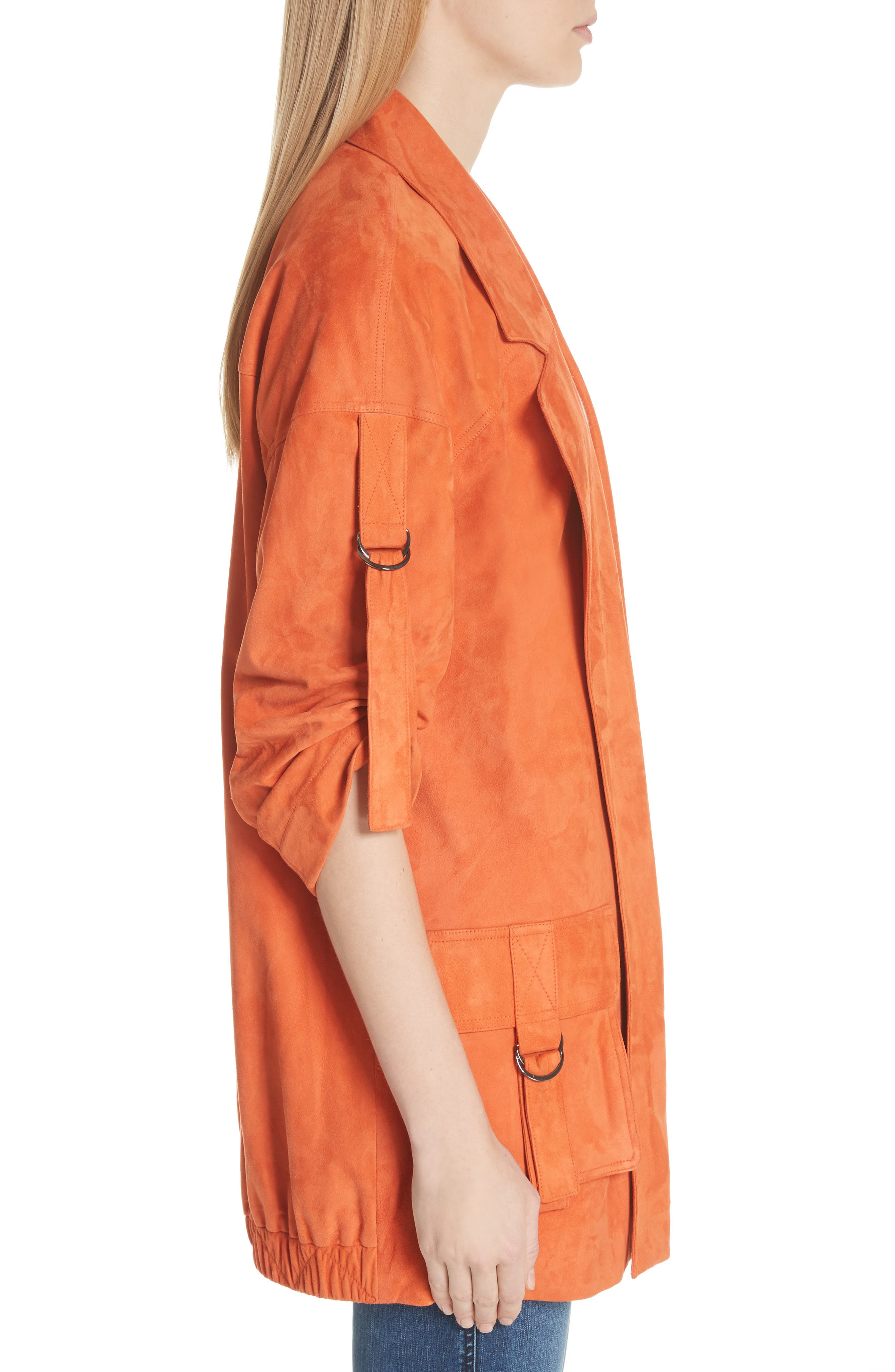 Suede Slouch Jacket,                             Alternate thumbnail 3, color,                             SOFT SIENNA